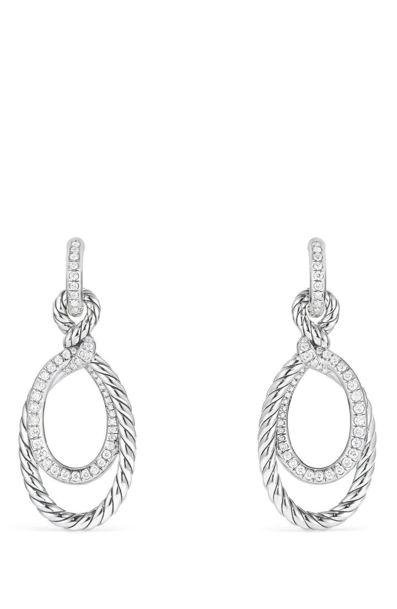 Continuance Drop Earrings with Diamonds,                             Main thumbnail 1, color,                             Silver/ Diamond