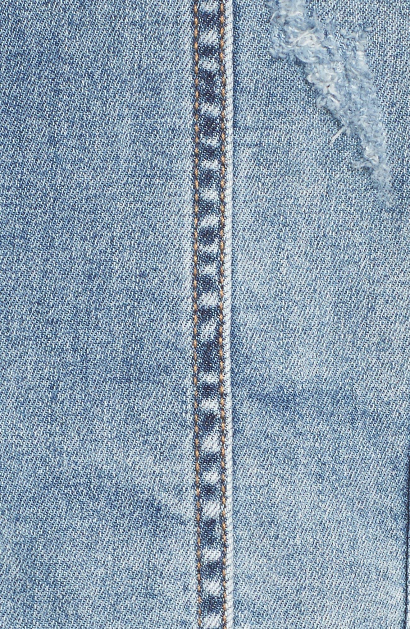 Double Release Raw Hem Denim Jacket,                             Alternate thumbnail 6, color,                             Blue