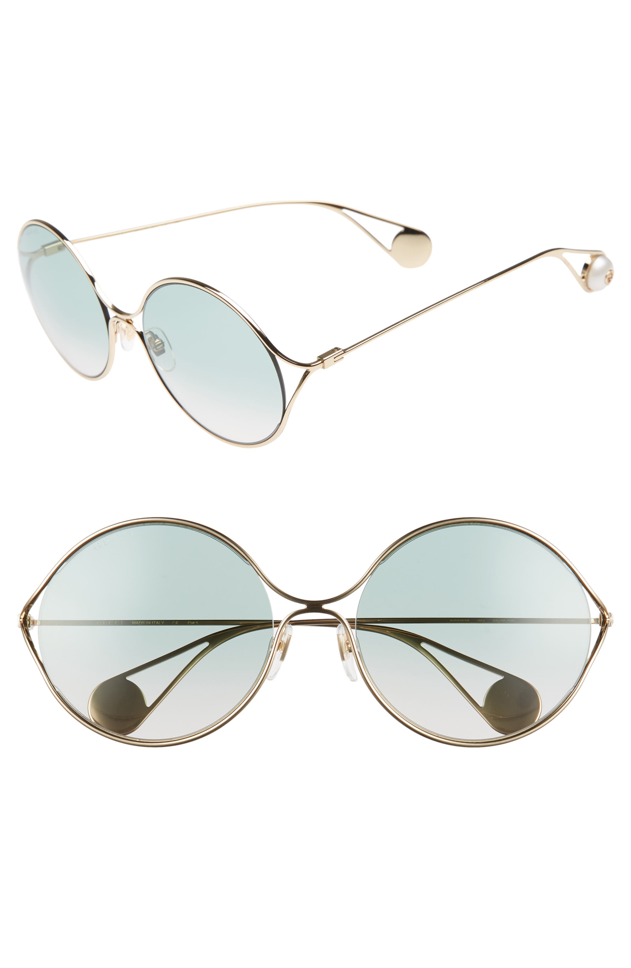 Alternate Image 1 Selected - Gucci 58mm Gradient Lens Round Sunglasses