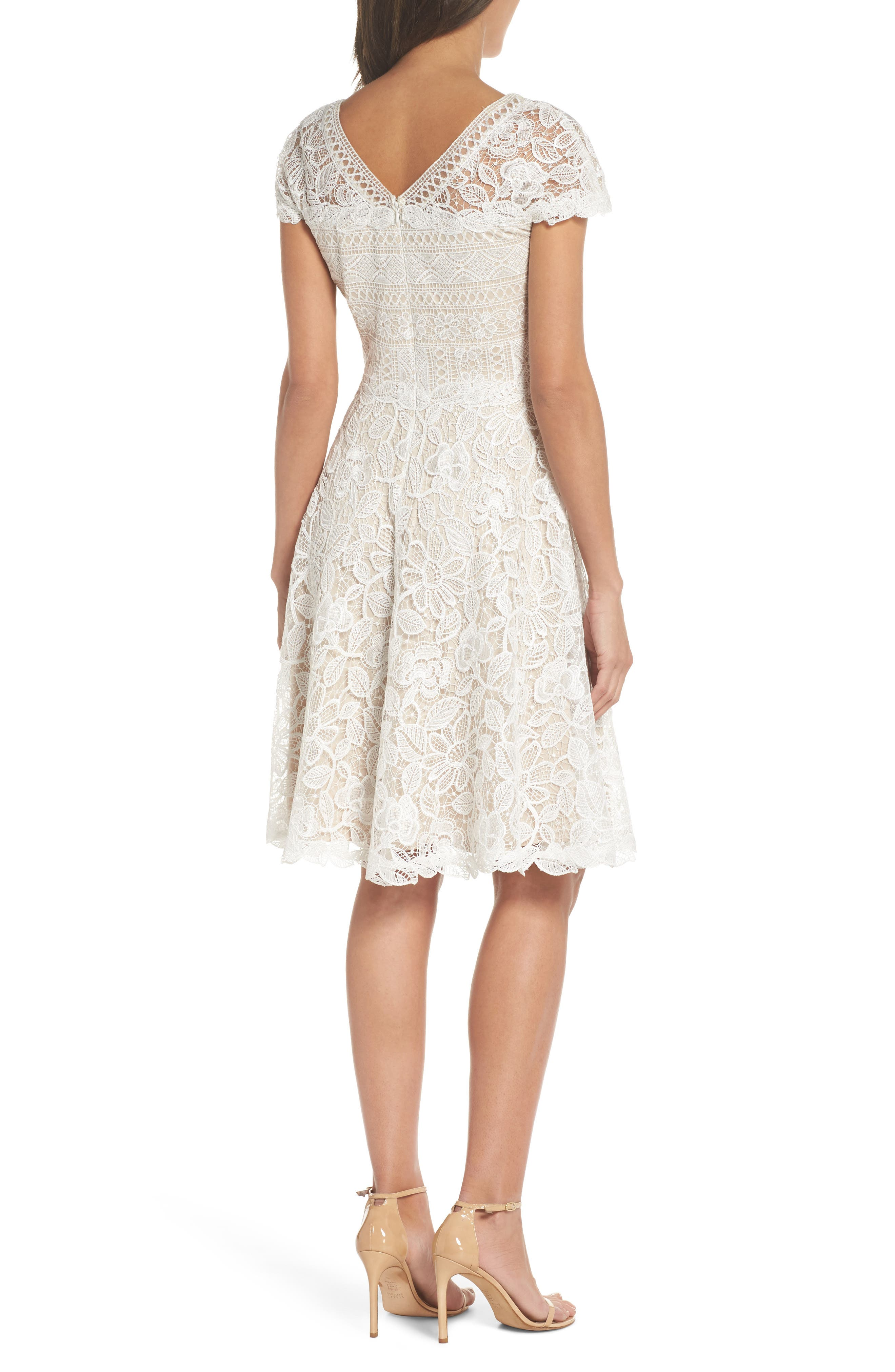 Mixed Lace Fit & Flare Dress,                             Alternate thumbnail 2, color,                             White/ Natural