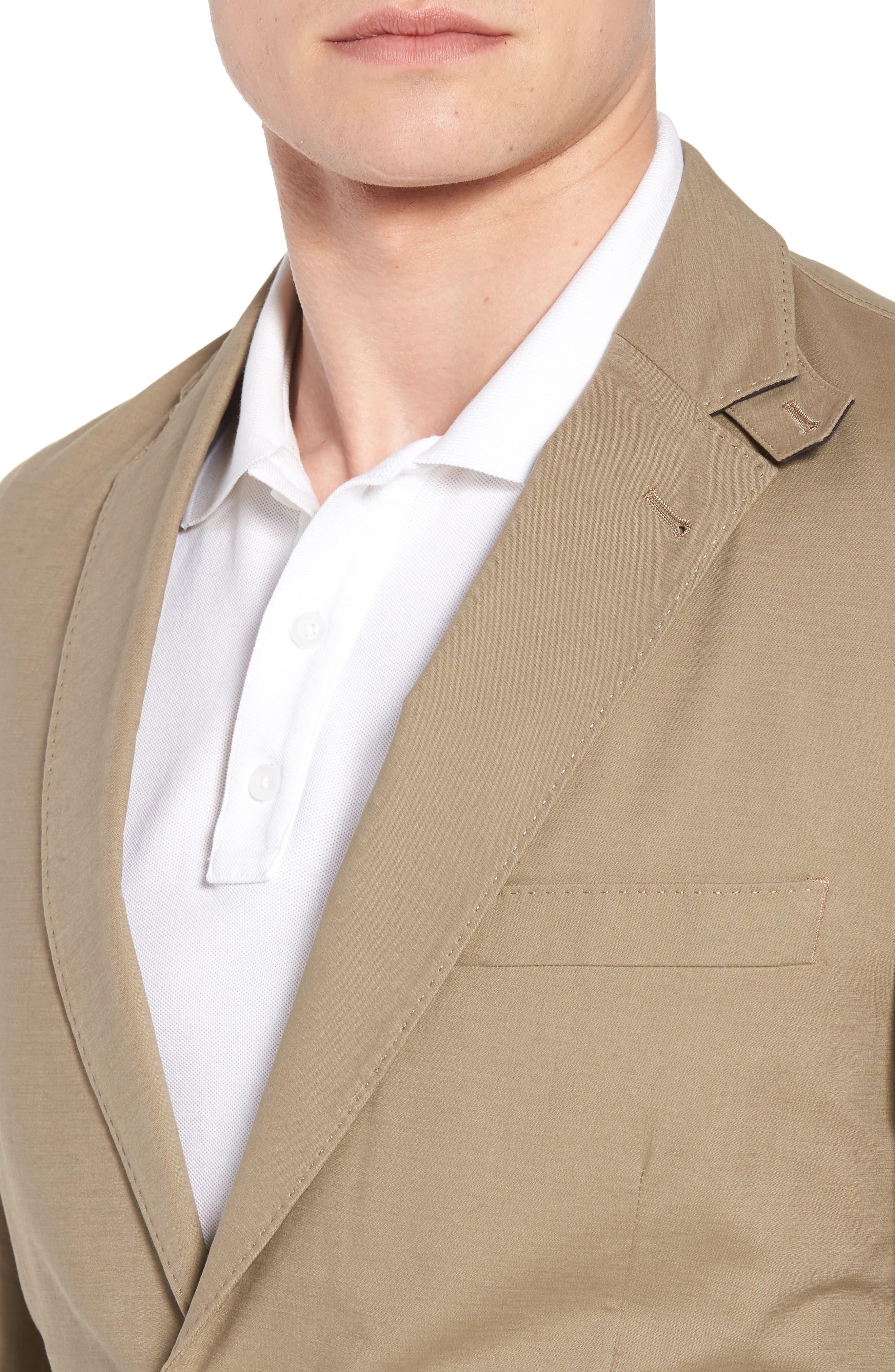Bono AIM Classic Fit Stretch Cotton Blazer,                             Alternate thumbnail 4, color,                             Khaki