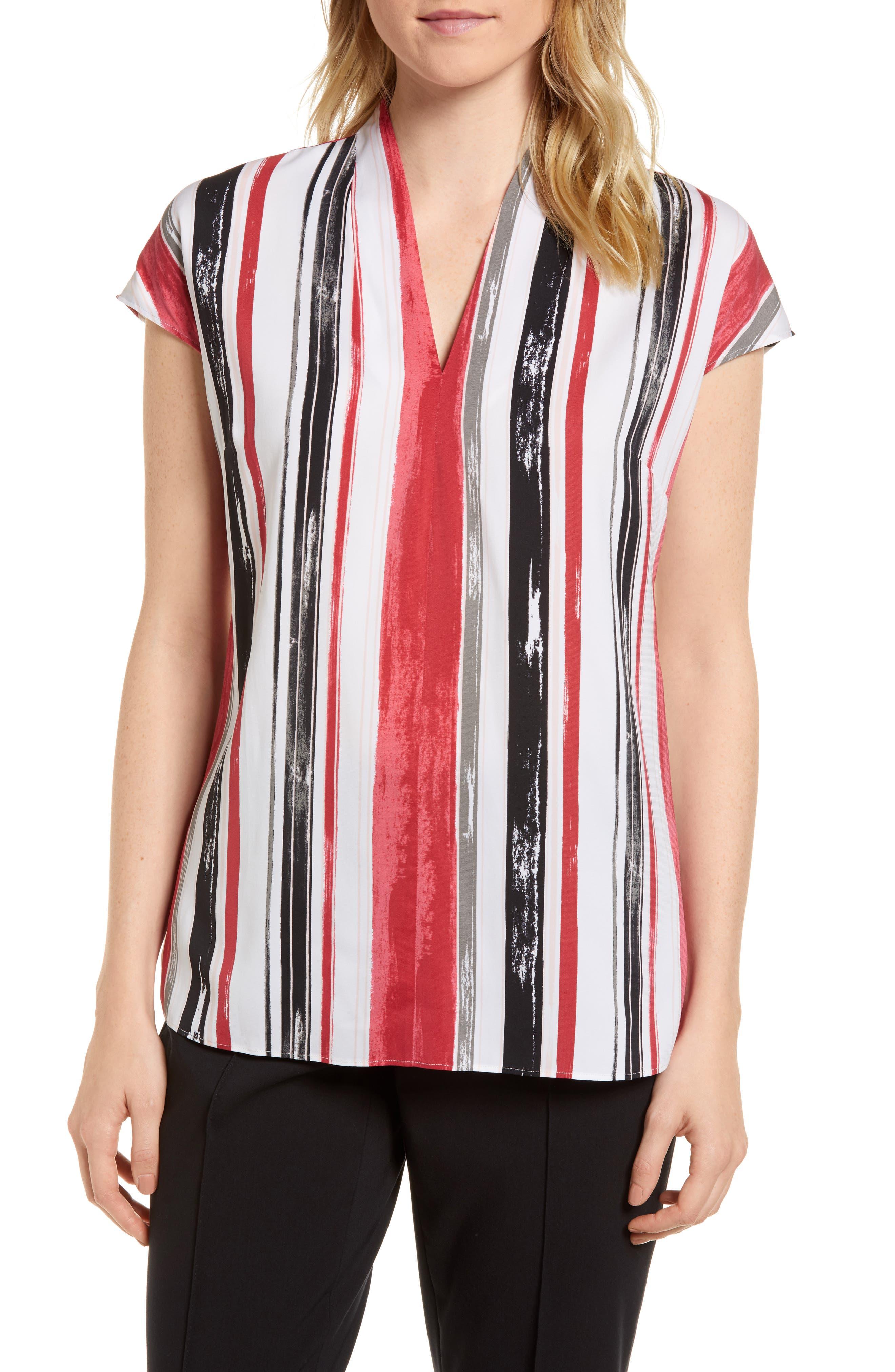 Short Sleeve Stripe Stretch Silk Blouse,                         Main,                         color, Ivory- Pink Multi Stripe