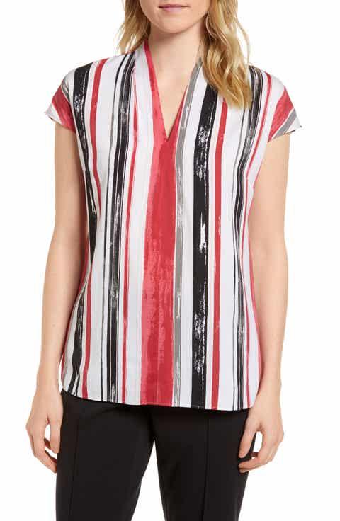 Emerson Rose Short Sleeve Stripe Stretch Silk Blouse