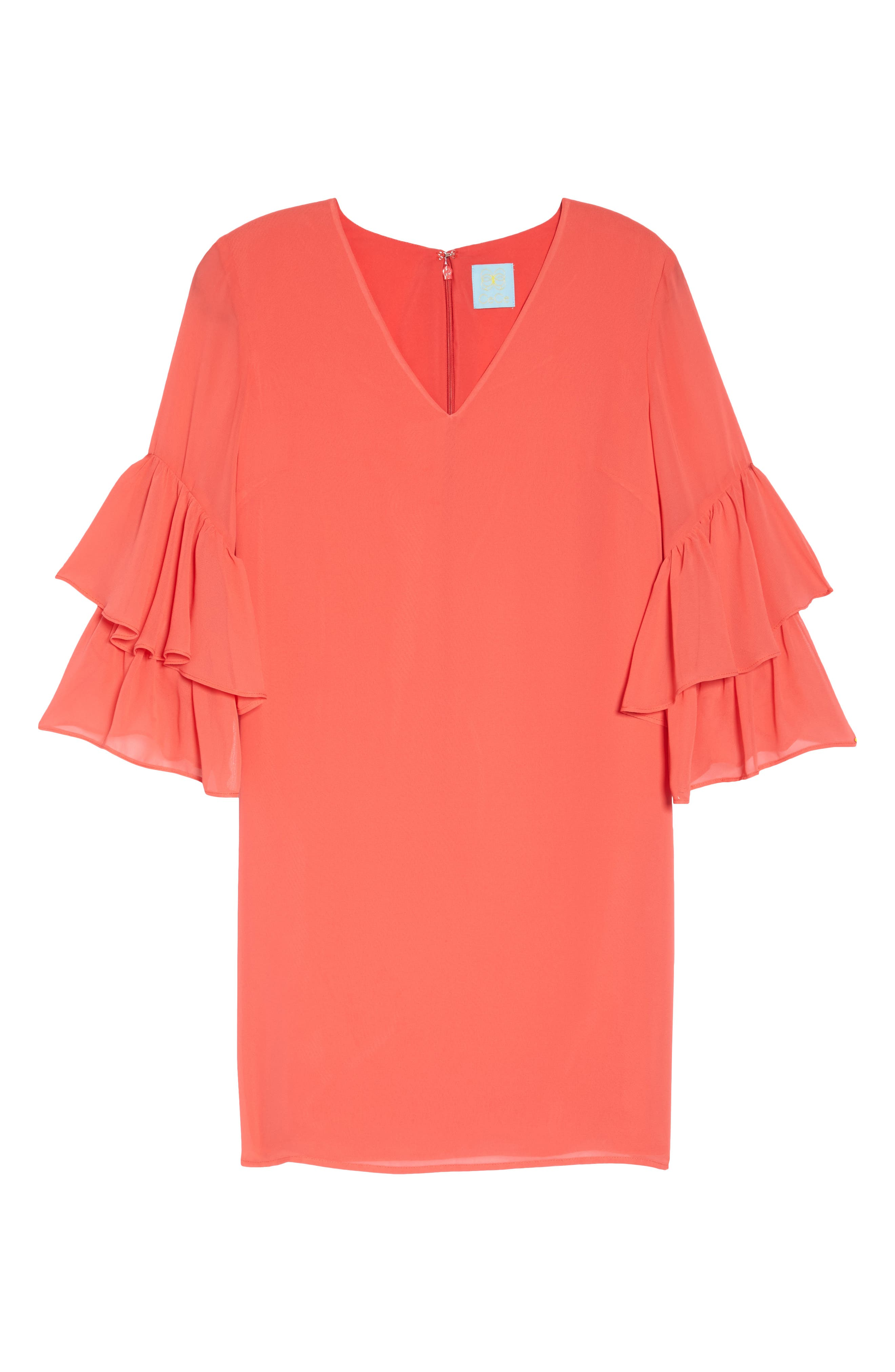 Carmen Tiered Ruffle Sleeve Shift Dress,                             Alternate thumbnail 7, color,                             Coral Crush