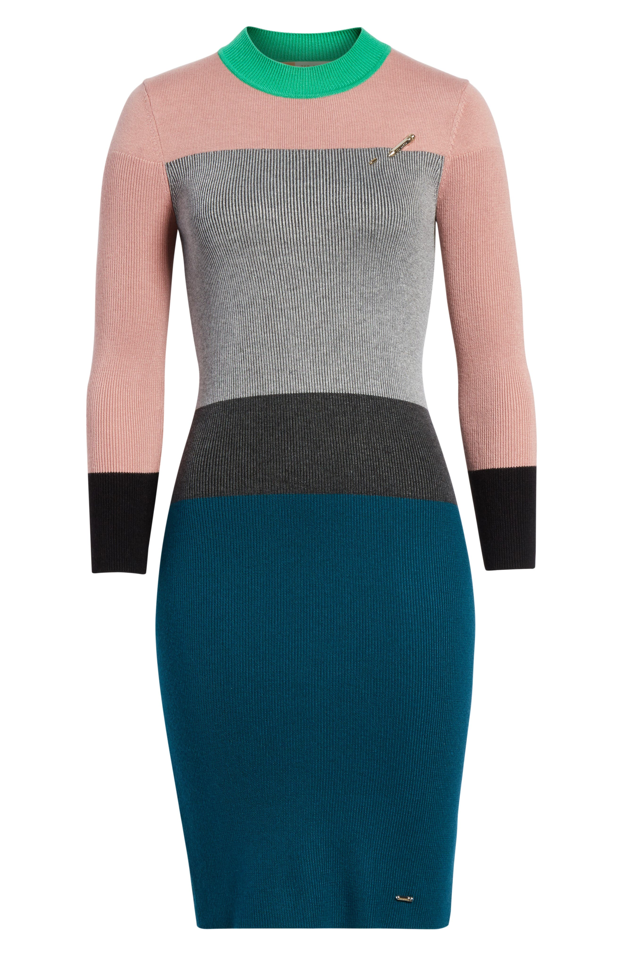 Colour by Numbers Colorblock Sweater Dress,                             Alternate thumbnail 6, color,                             Grey