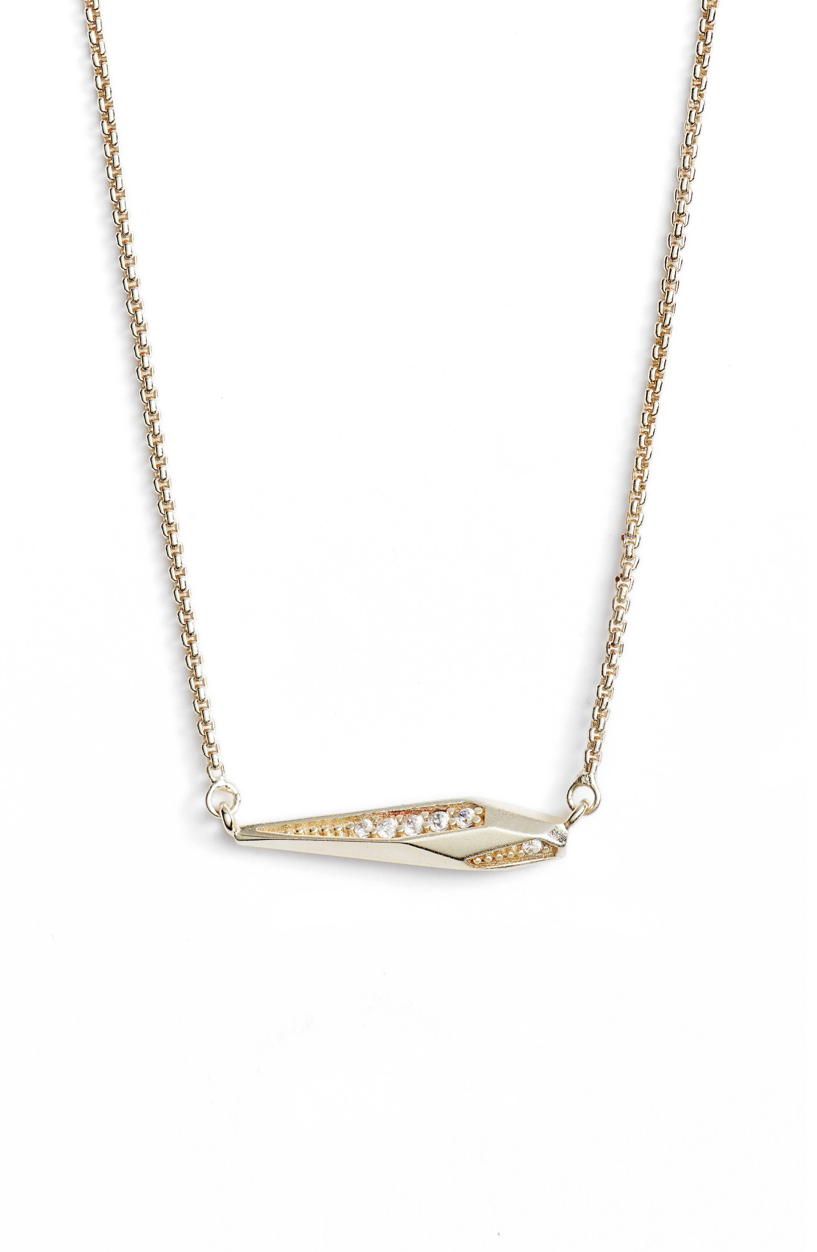 Tabitha Crystal Dagger Necklace,                         Main,                         color, White Cz/ Gold