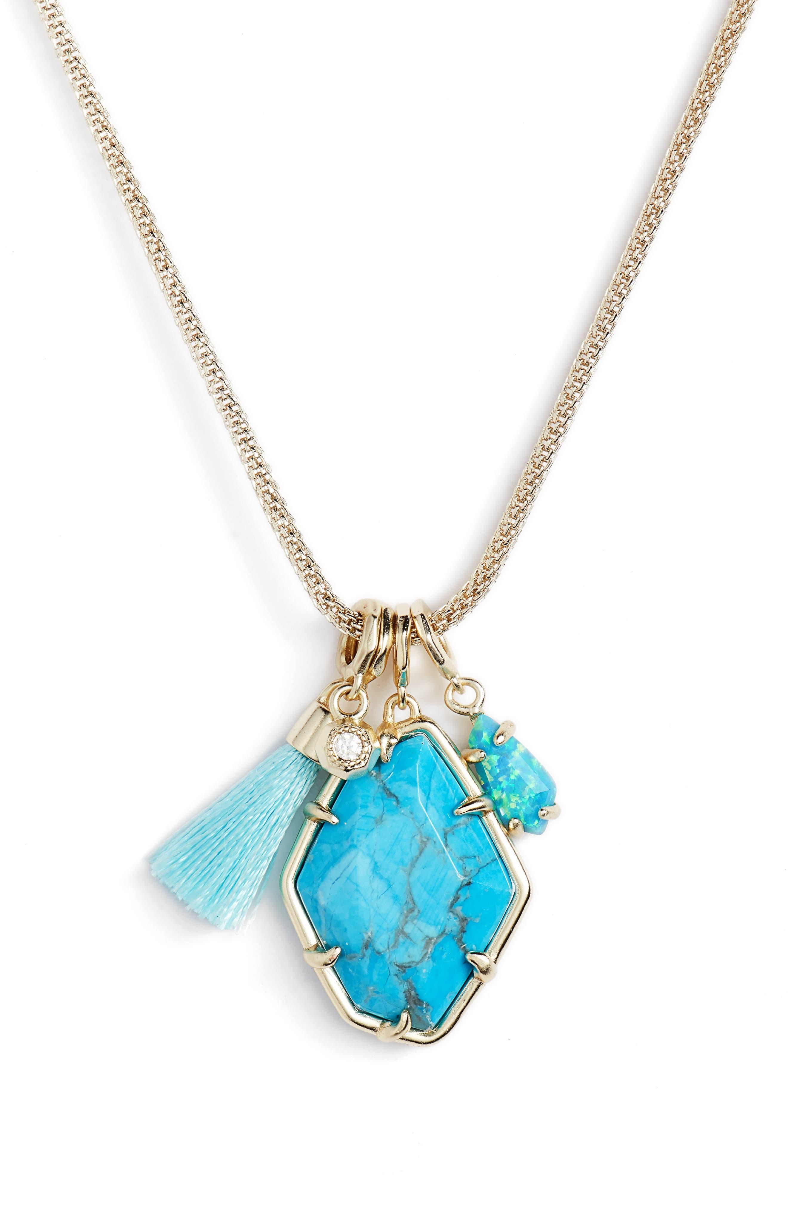 Hailey Necklace,                         Main,                         color, Aqua Howlite/ Gold