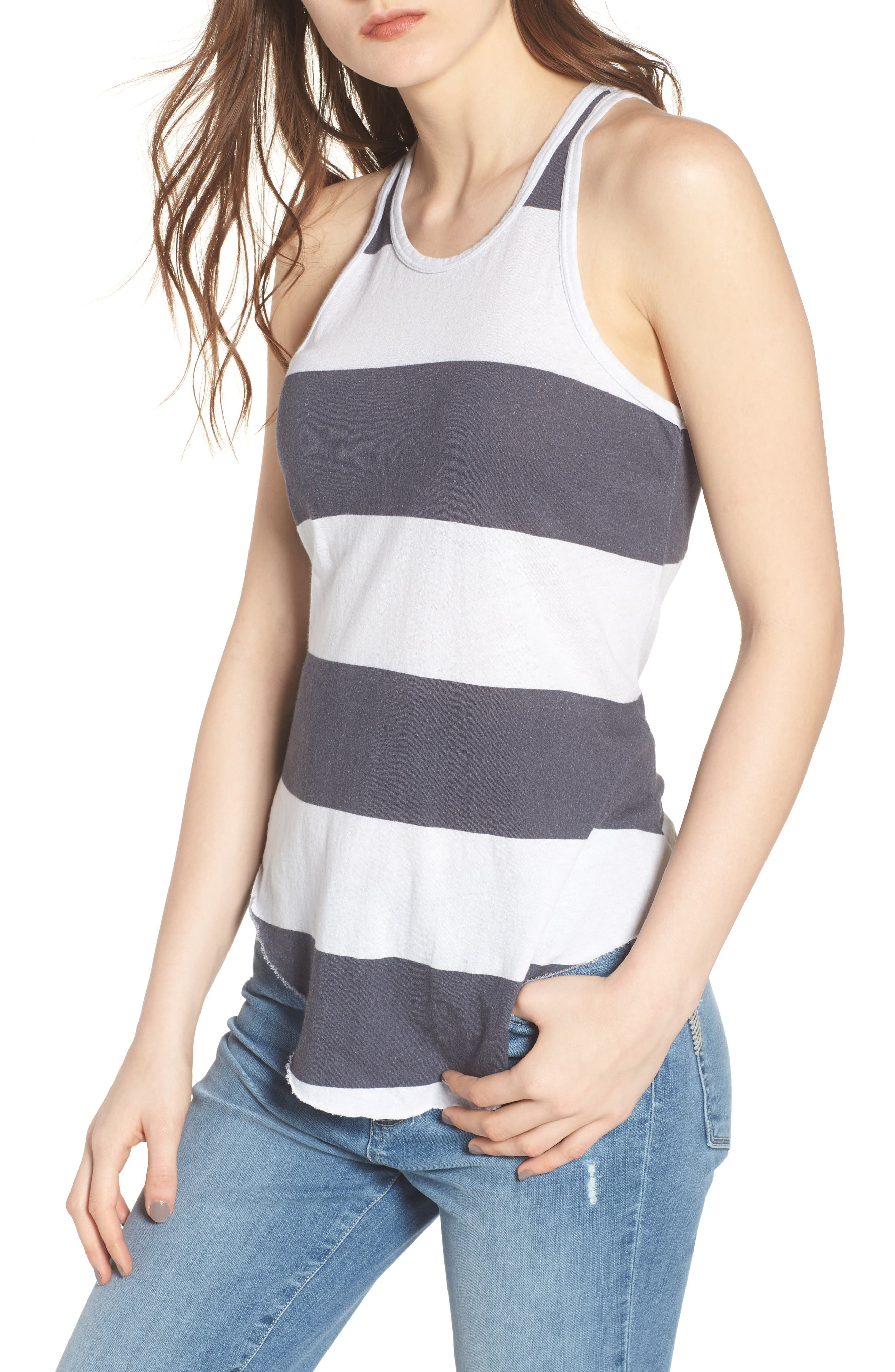 Stripe Long Layering Tank,                         Main,                         color, Carbon Rugby