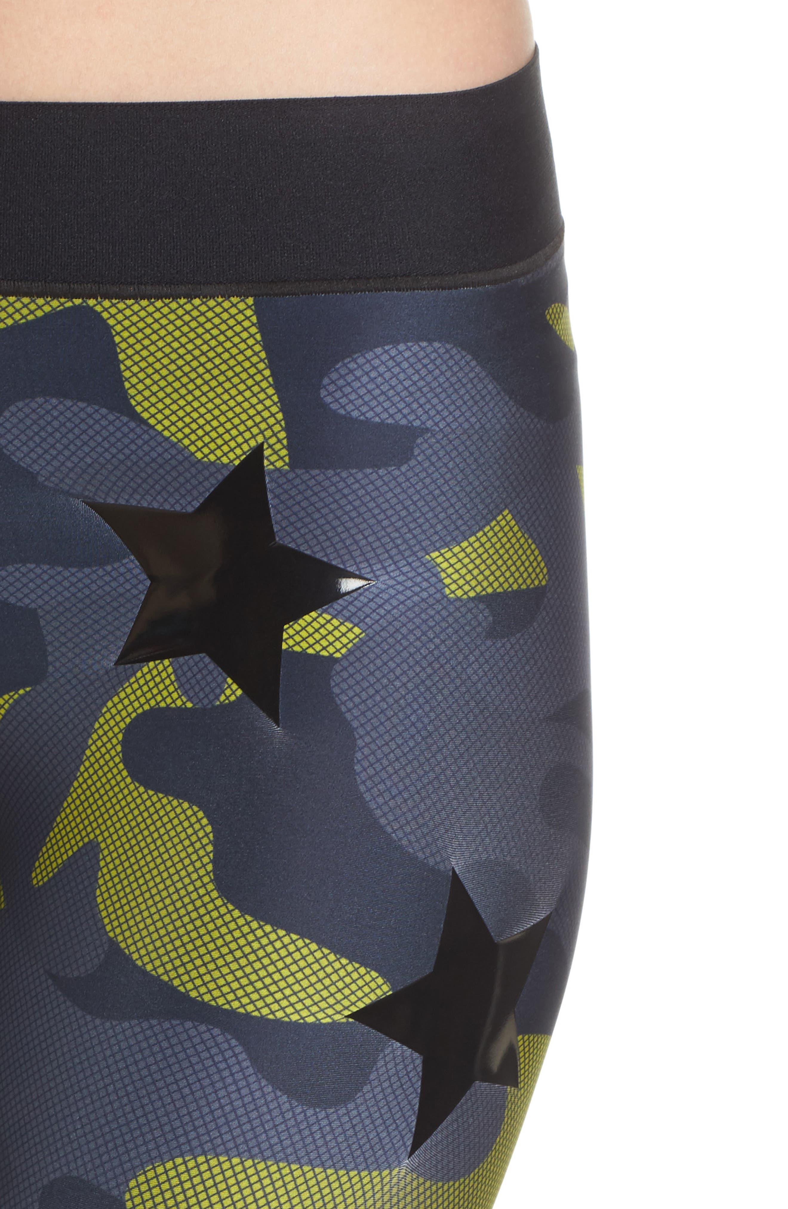 Camo Tech Knockout Leggings,                             Alternate thumbnail 4, color,                             Chartreuse/ Patent Nero