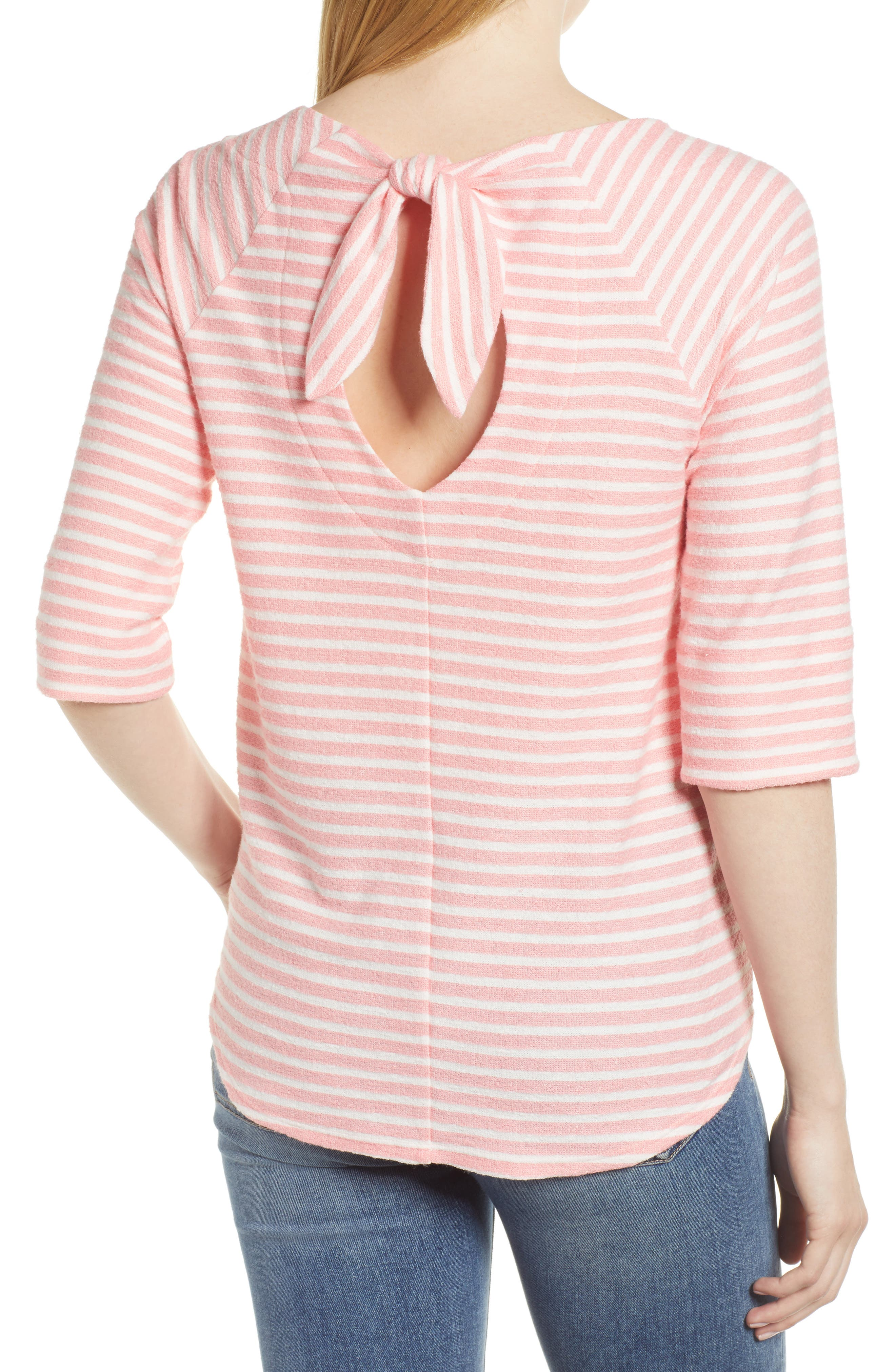 Tie Back Top,                             Alternate thumbnail 2, color,                             Coral Sugar/ White