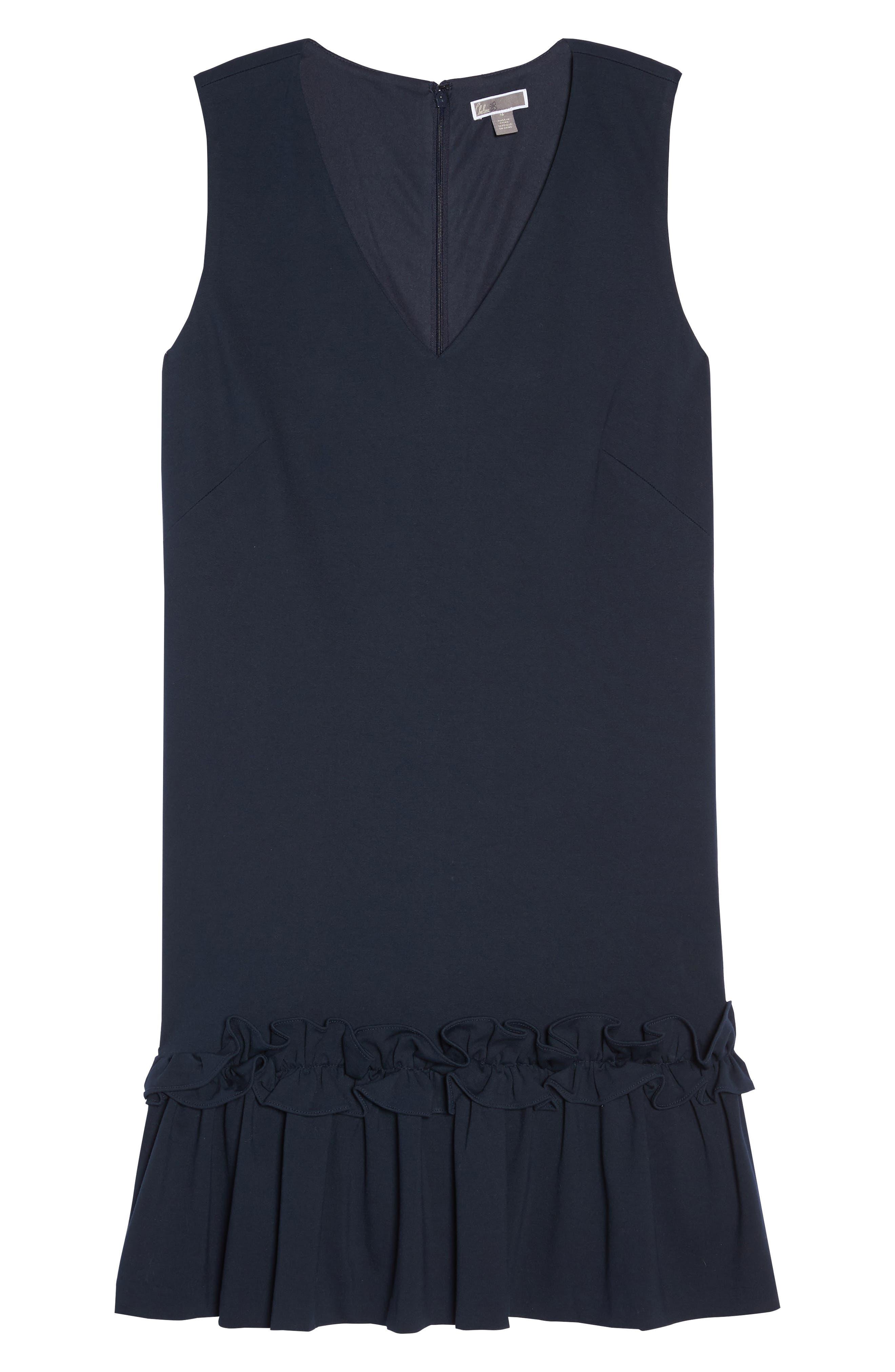 Ruffle Hem Sheath Dress,                             Alternate thumbnail 6, color,                             Navy Sapphire