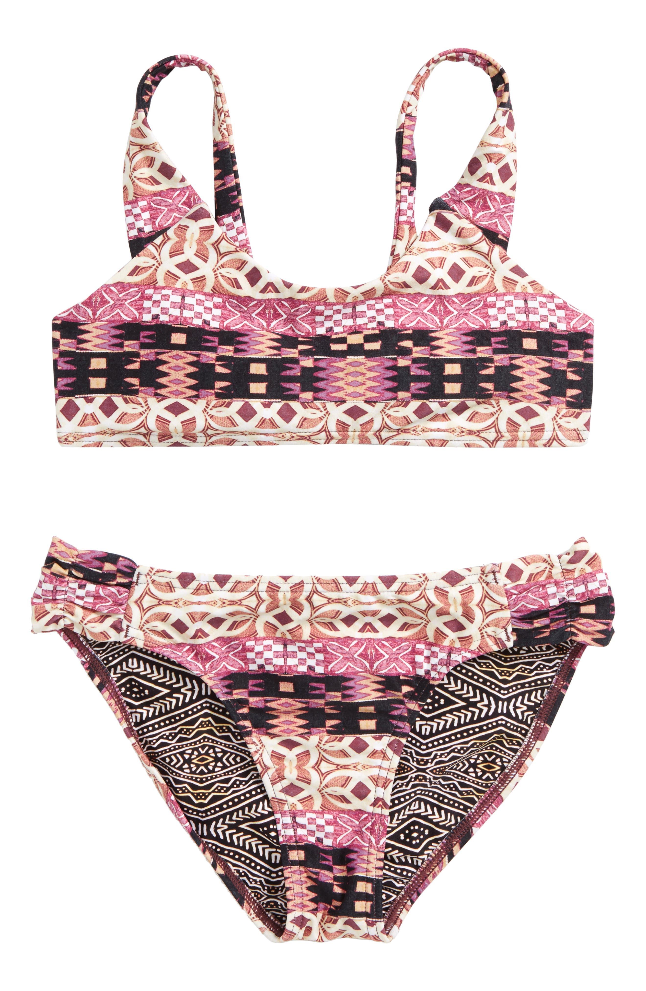 Main Image - O'Neill Zanzibar Reversible Two-Piece Swimsuit (Big GIrls)