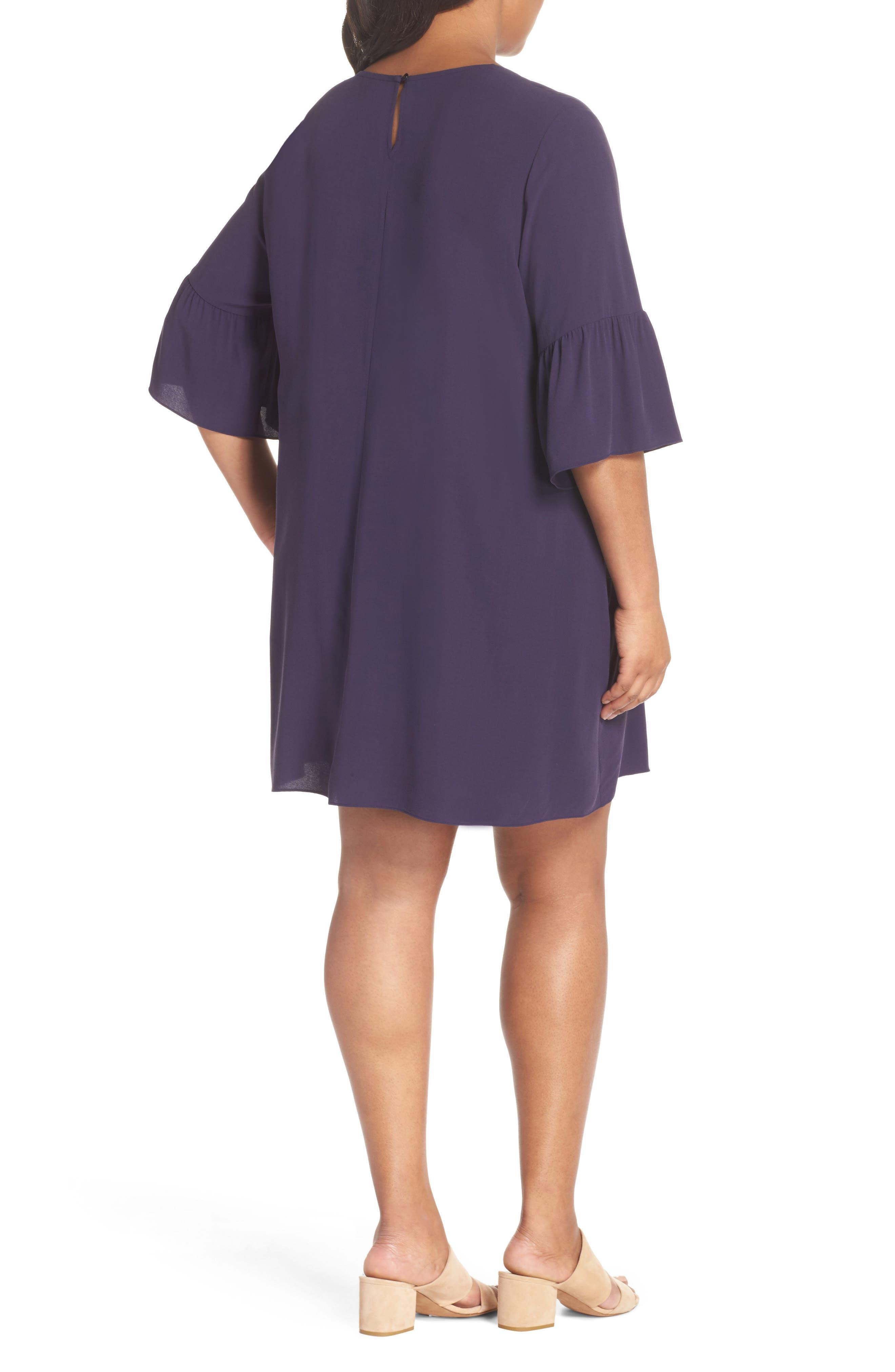 Flare Sleeve Silk Shift Dress,                             Alternate thumbnail 2, color,                             Salt Lake