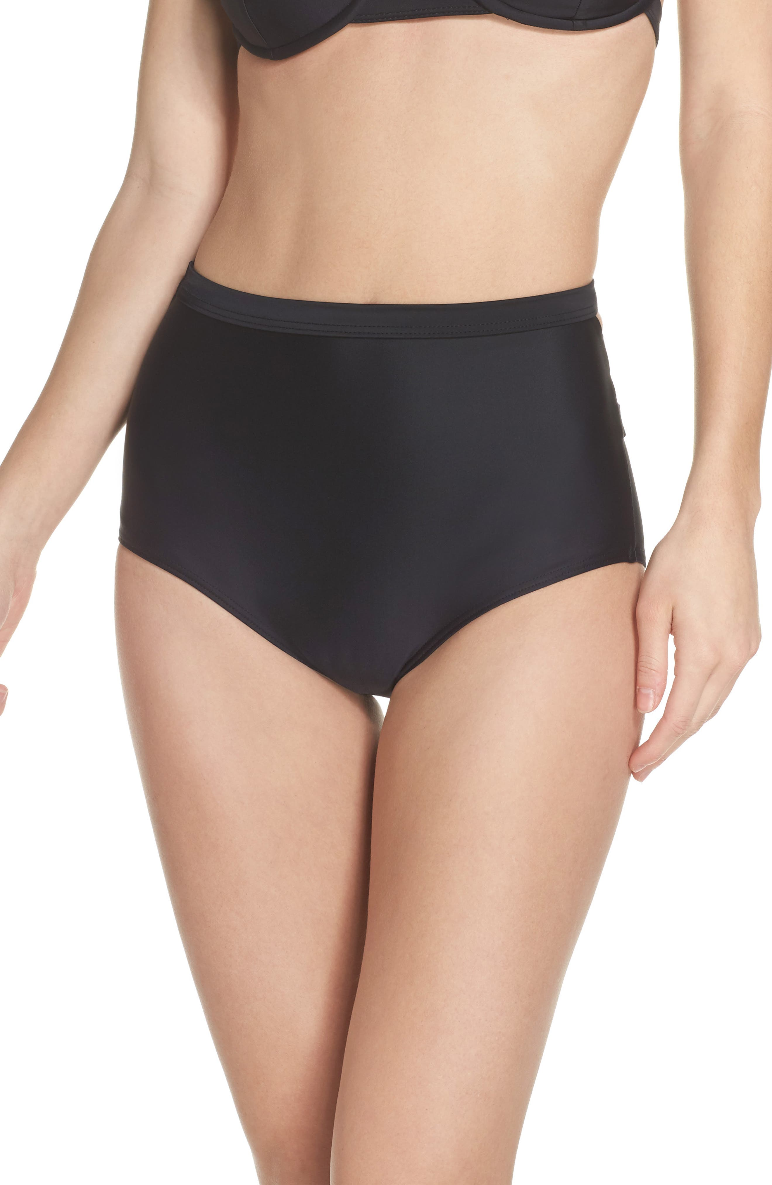 Bouloux II High Waist Bikini Bottoms,                         Main,                         color, Black