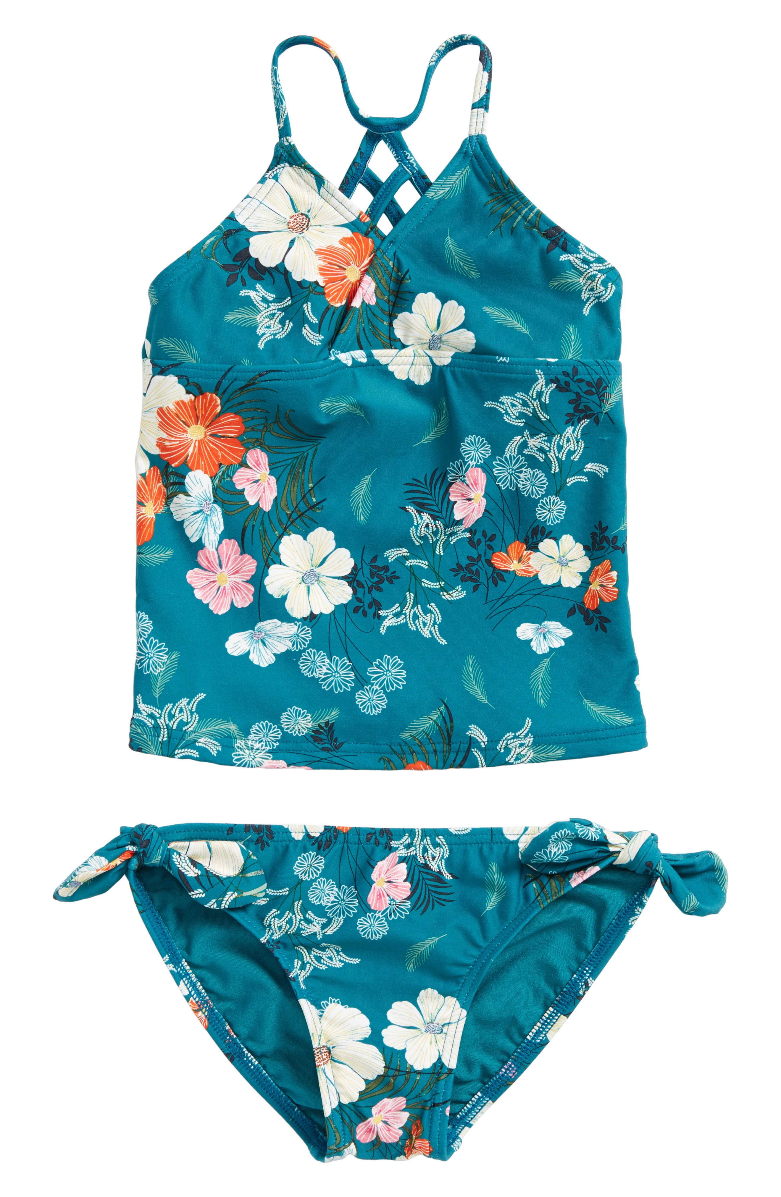 Lucy Floral Two-Piece Swimsuit,                             Main thumbnail 1, color,                             Island Turquoise