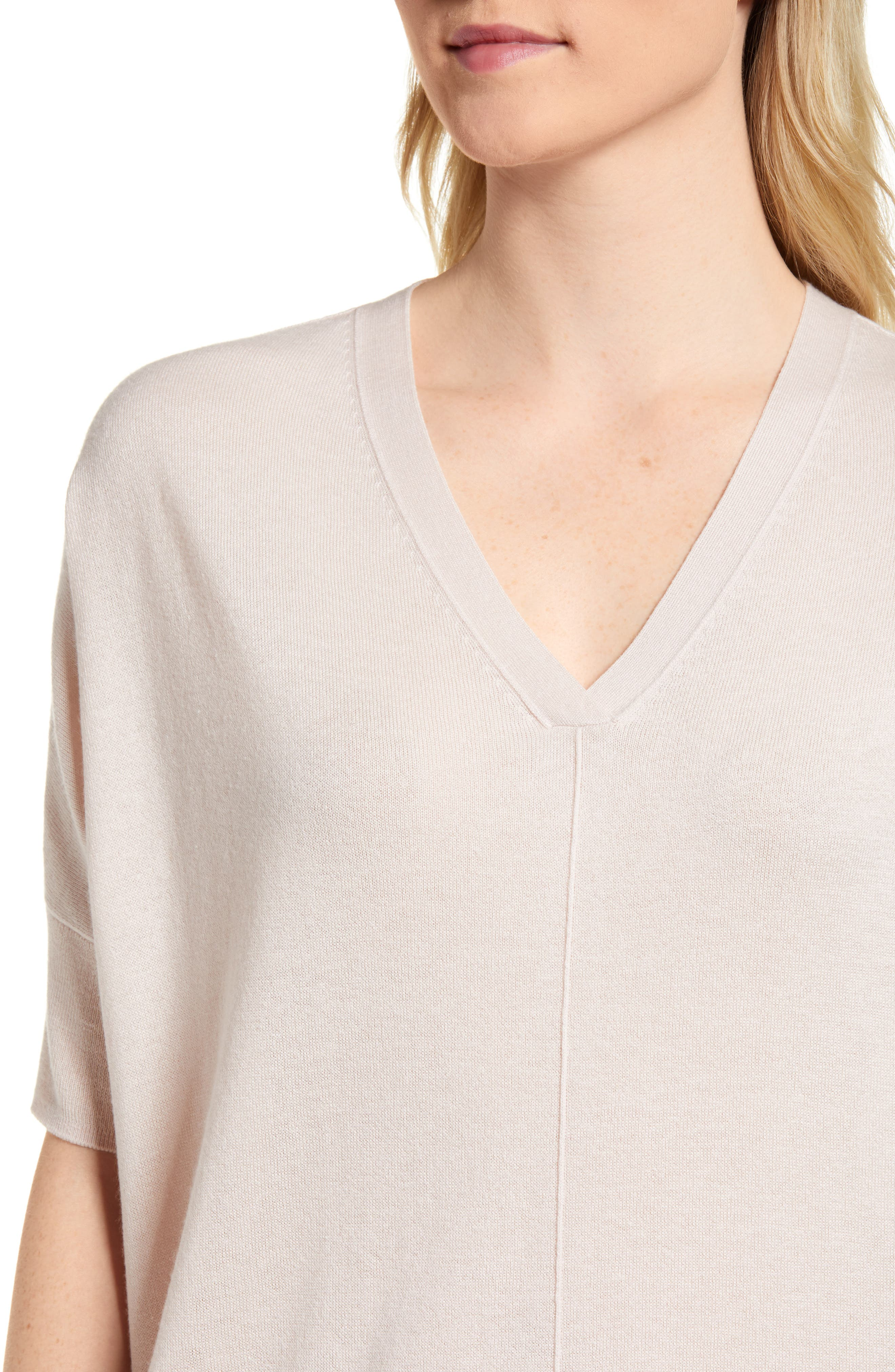 High/Low Silk & Cashmere Sweater,                             Alternate thumbnail 4, color,                             Pink Peony Bud