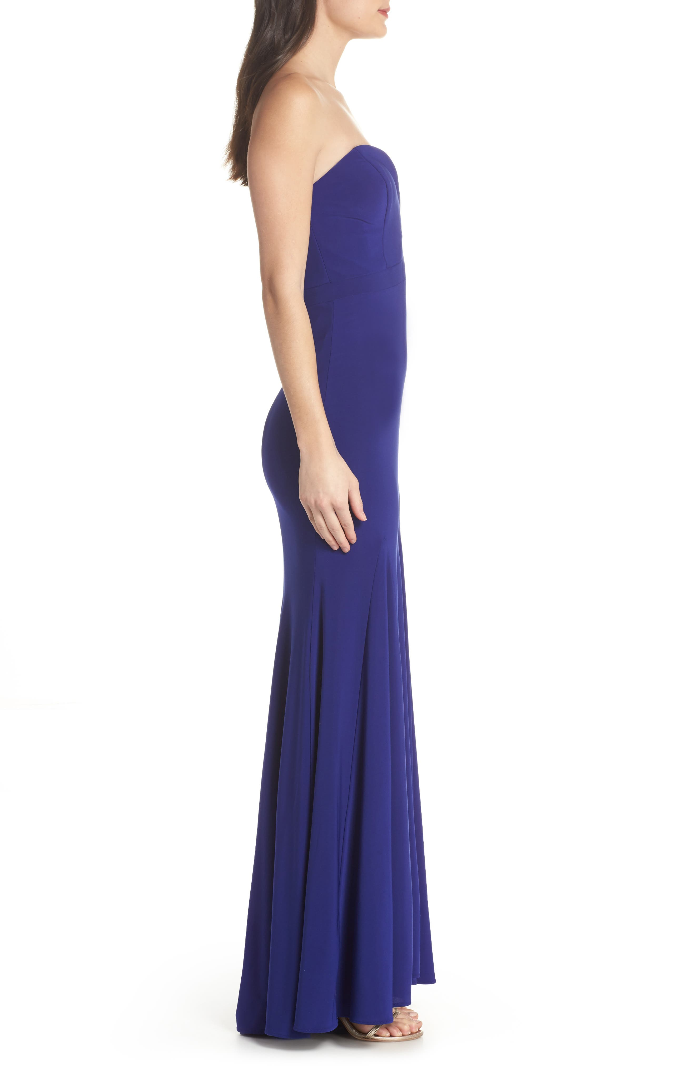 Bustier Strapless Gown,                             Alternate thumbnail 3, color,                             Electric Blue