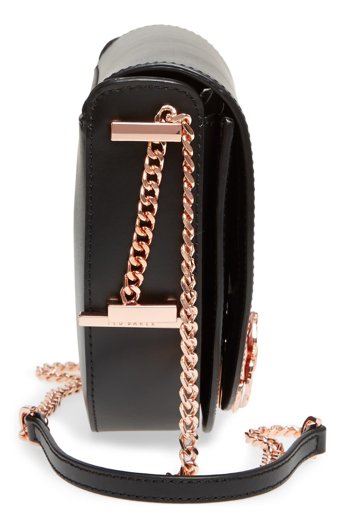 Roslyn Leather Crossbody Bag,                             Alternate thumbnail 5, color,                             Black