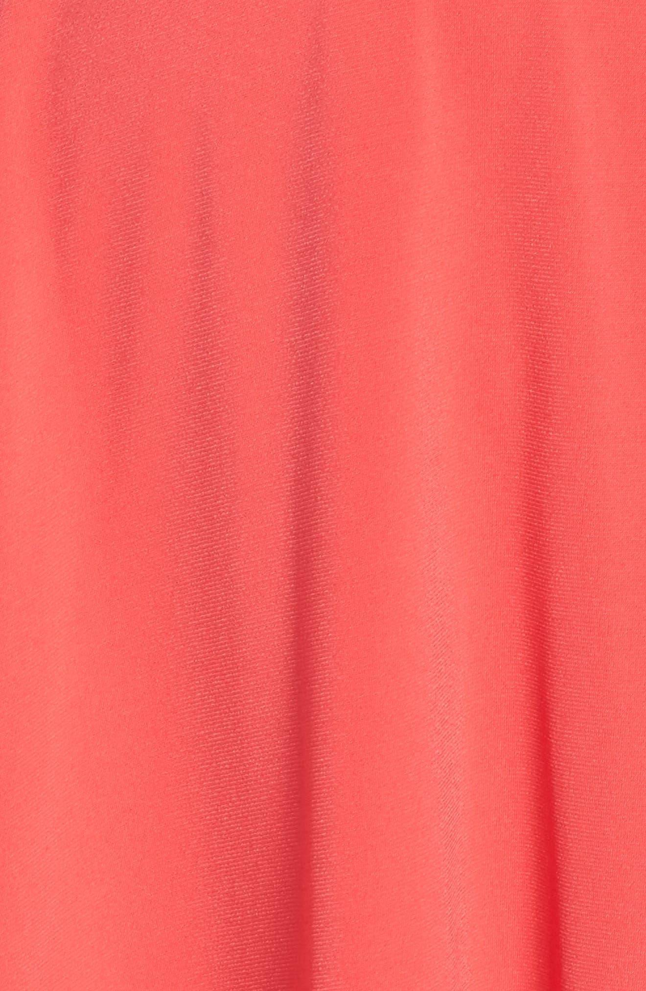 Split Shoulder High/Low Knit Dress,                             Alternate thumbnail 5, color,                             Pink
