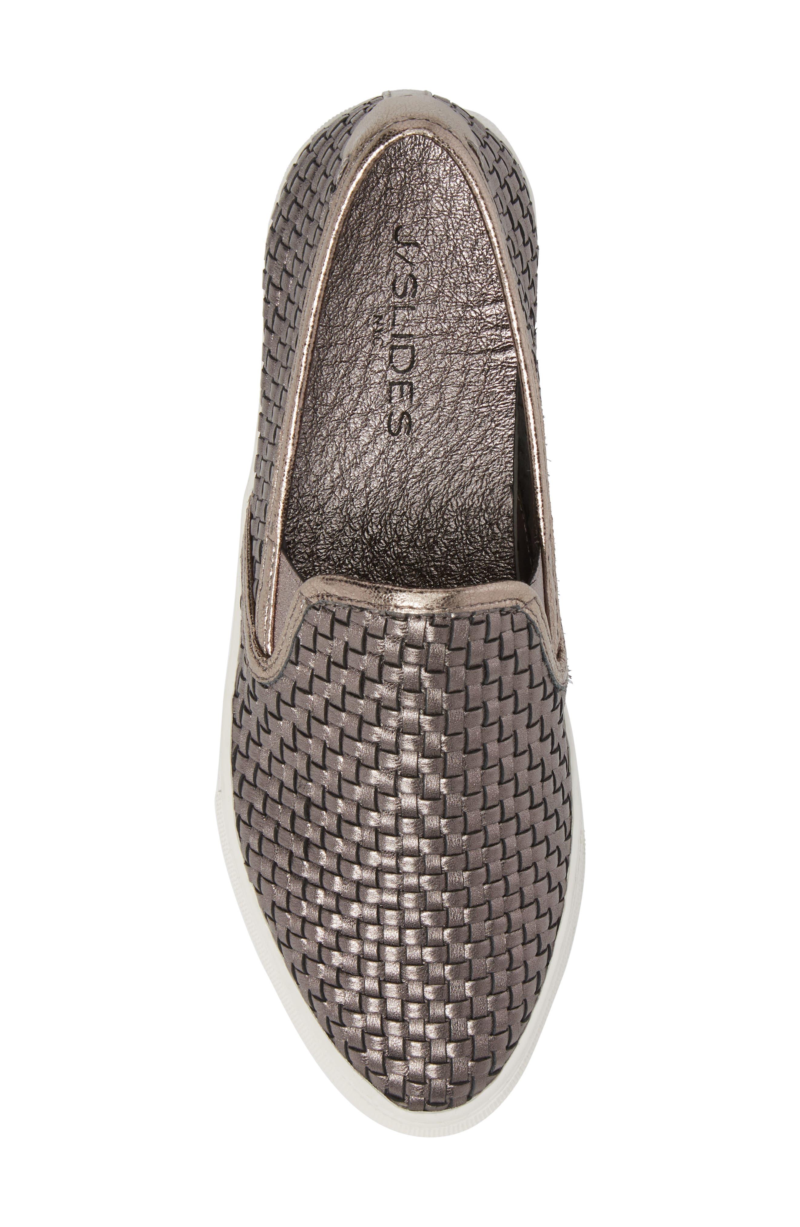 Flynn Slip-On Sneaker,                             Alternate thumbnail 5, color,                             Pewter Leather