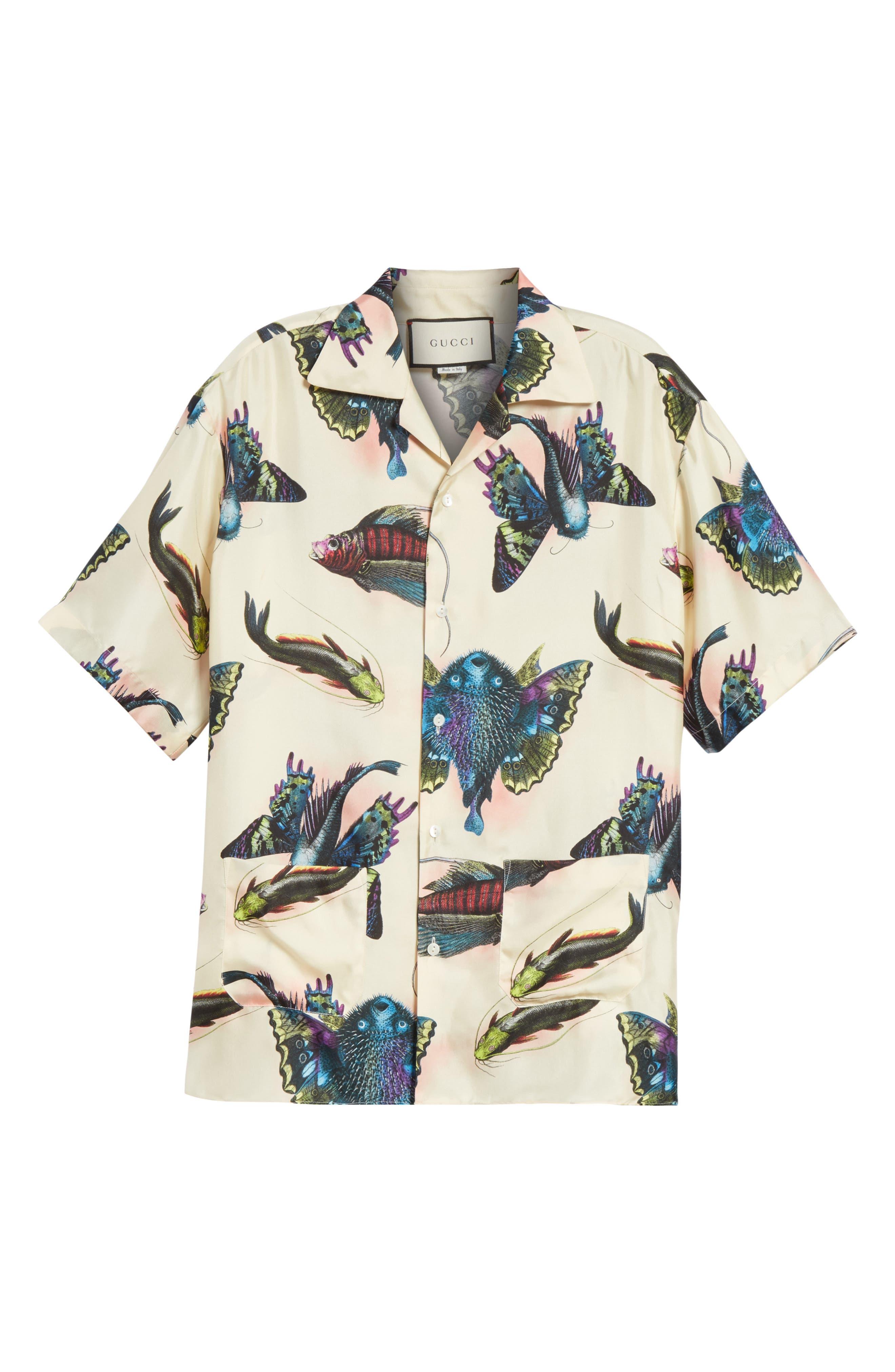 Flying Fish Silk Bowling Shirt,                             Alternate thumbnail 6, color,                             9273 Ivory