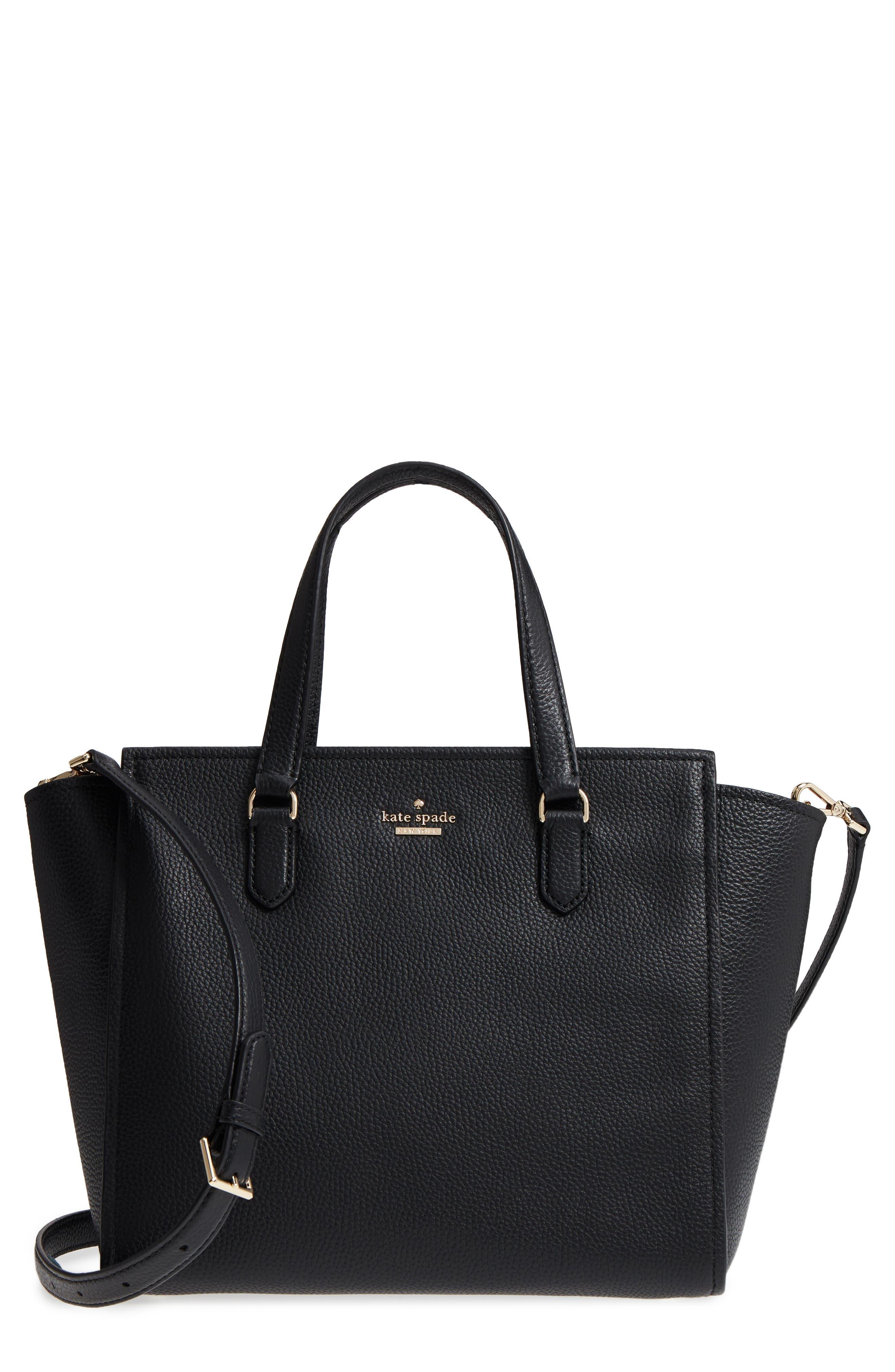 trent hill - hayden leather satchel,                             Main thumbnail 1, color,                             Black