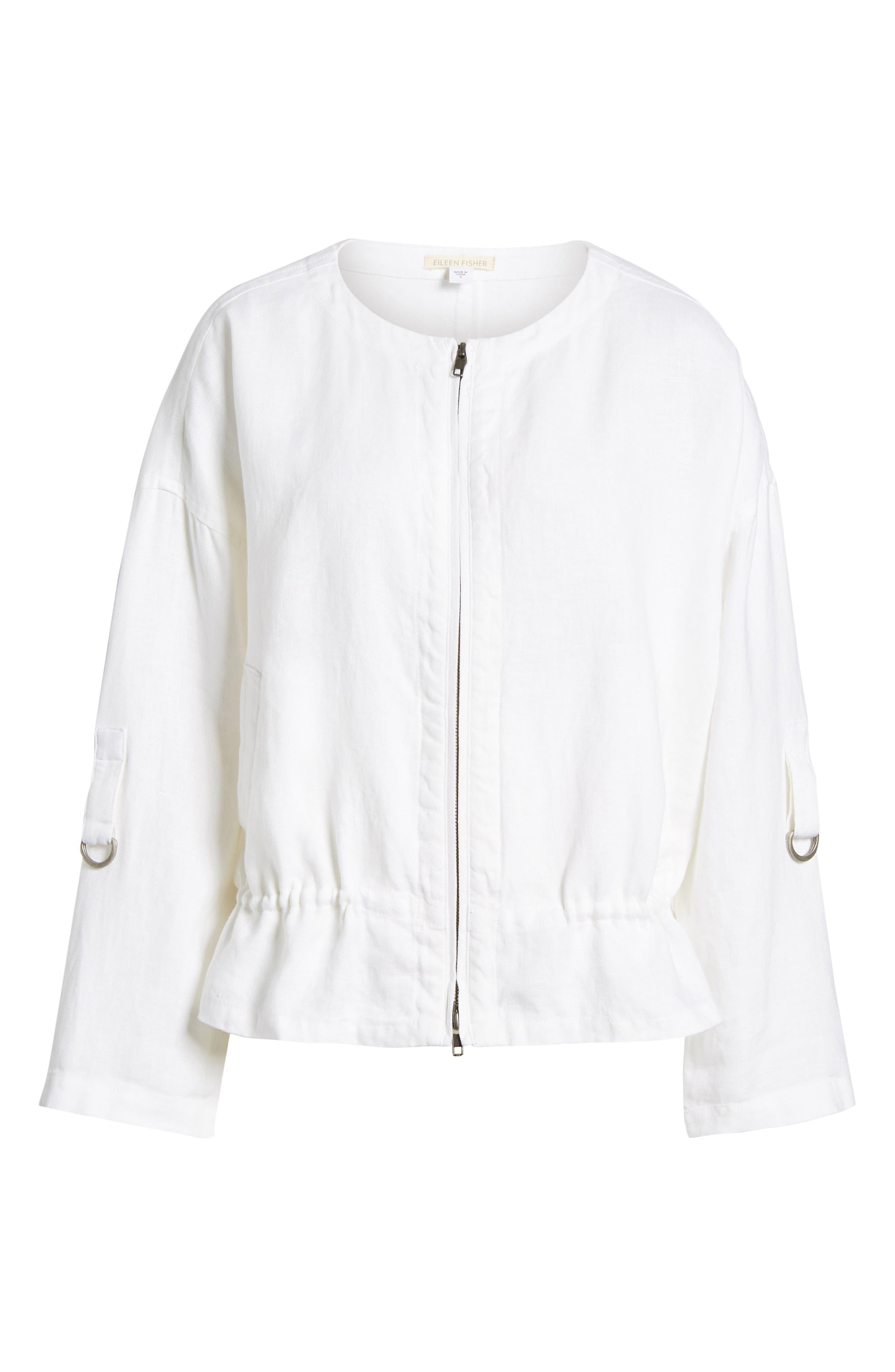 Drawstring Organic Linen Jacket,                             Alternate thumbnail 7, color,                             White
