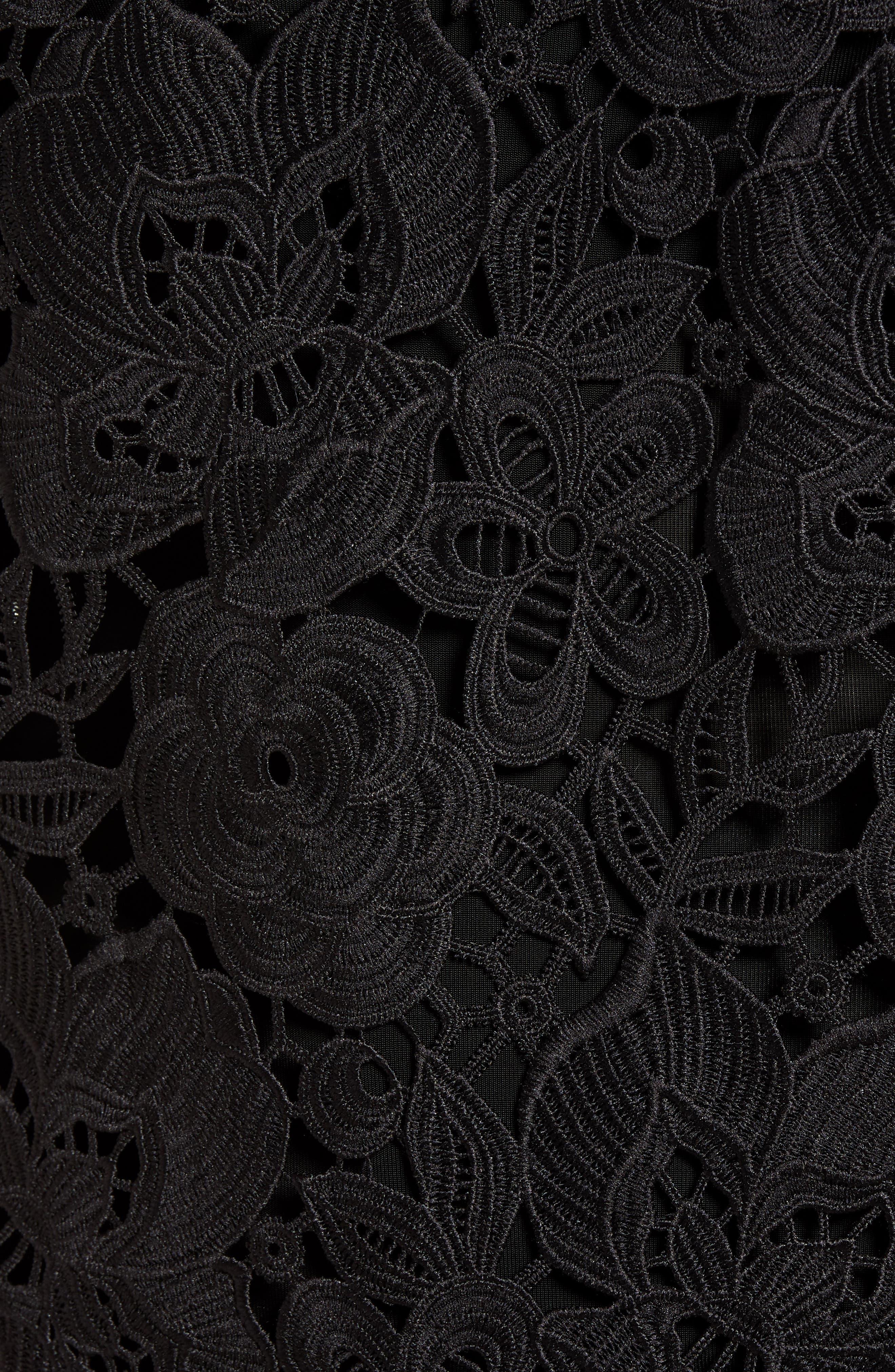 Puff Sleeve Lace Blouse,                             Alternate thumbnail 6, color,                             Black