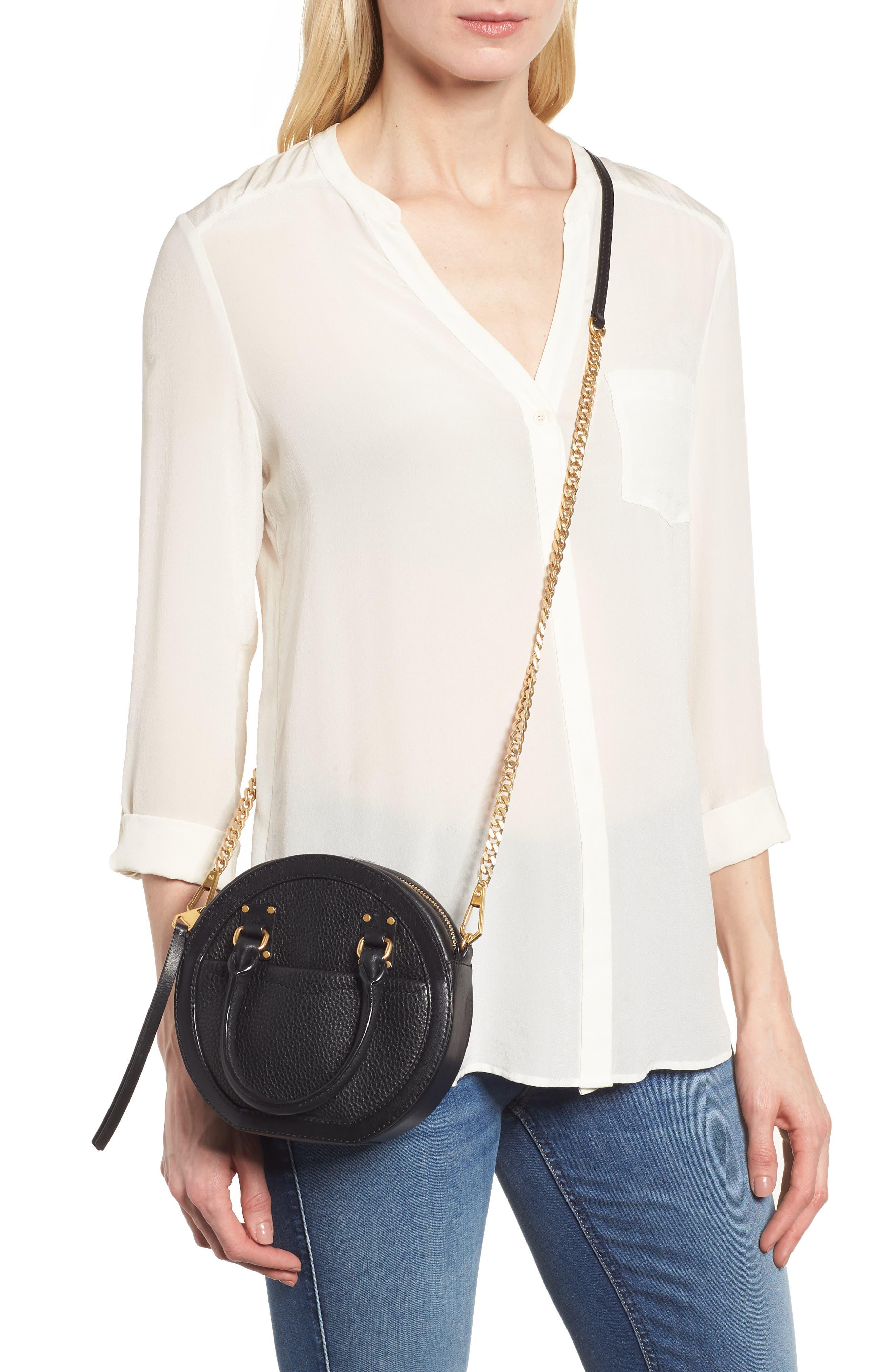 Bree Circle Leather Crossbody Bag,                             Alternate thumbnail 2, color,                             Black