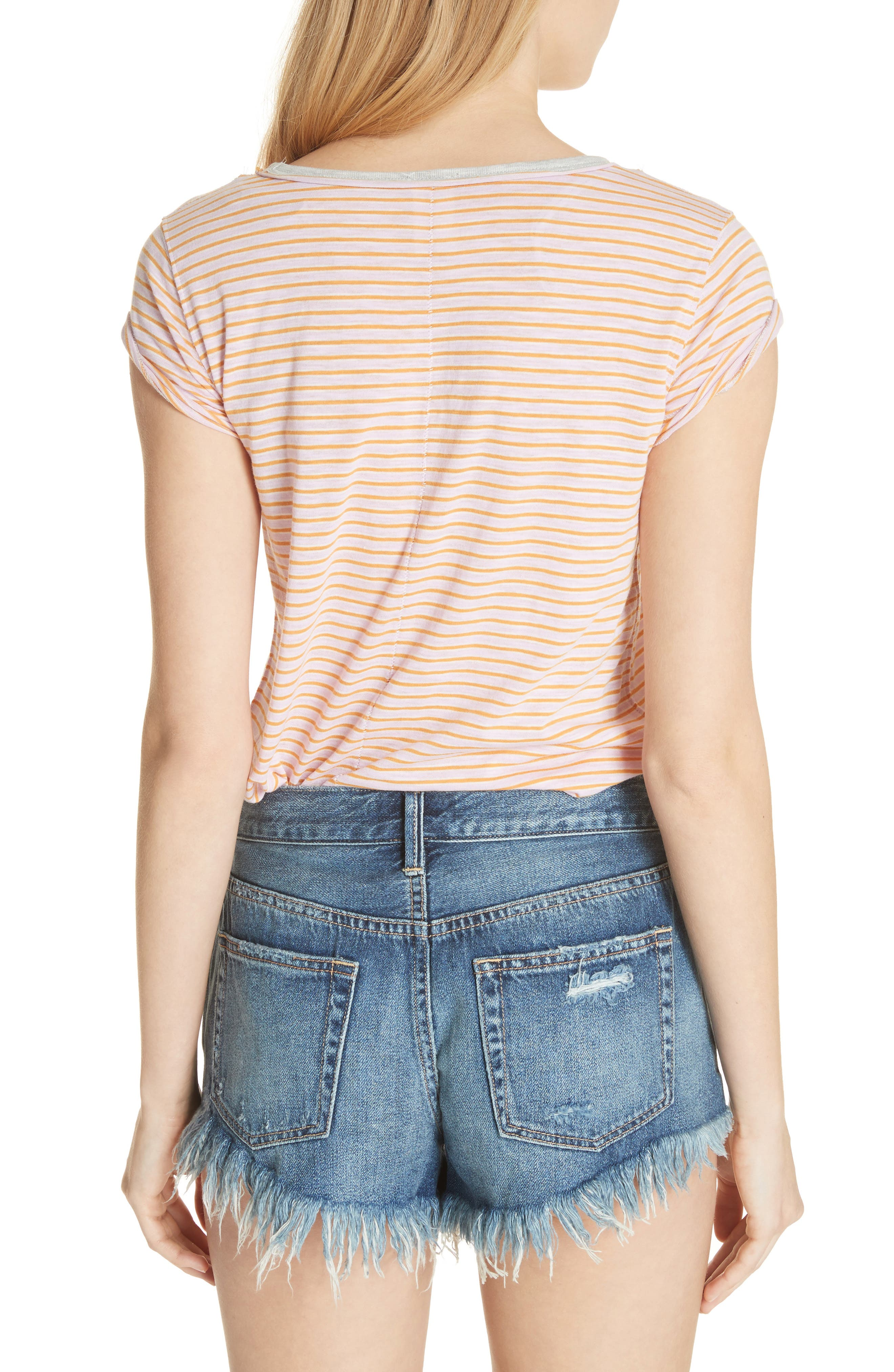 Clare Stripe Tee,                             Alternate thumbnail 2, color,                             Pink Combo