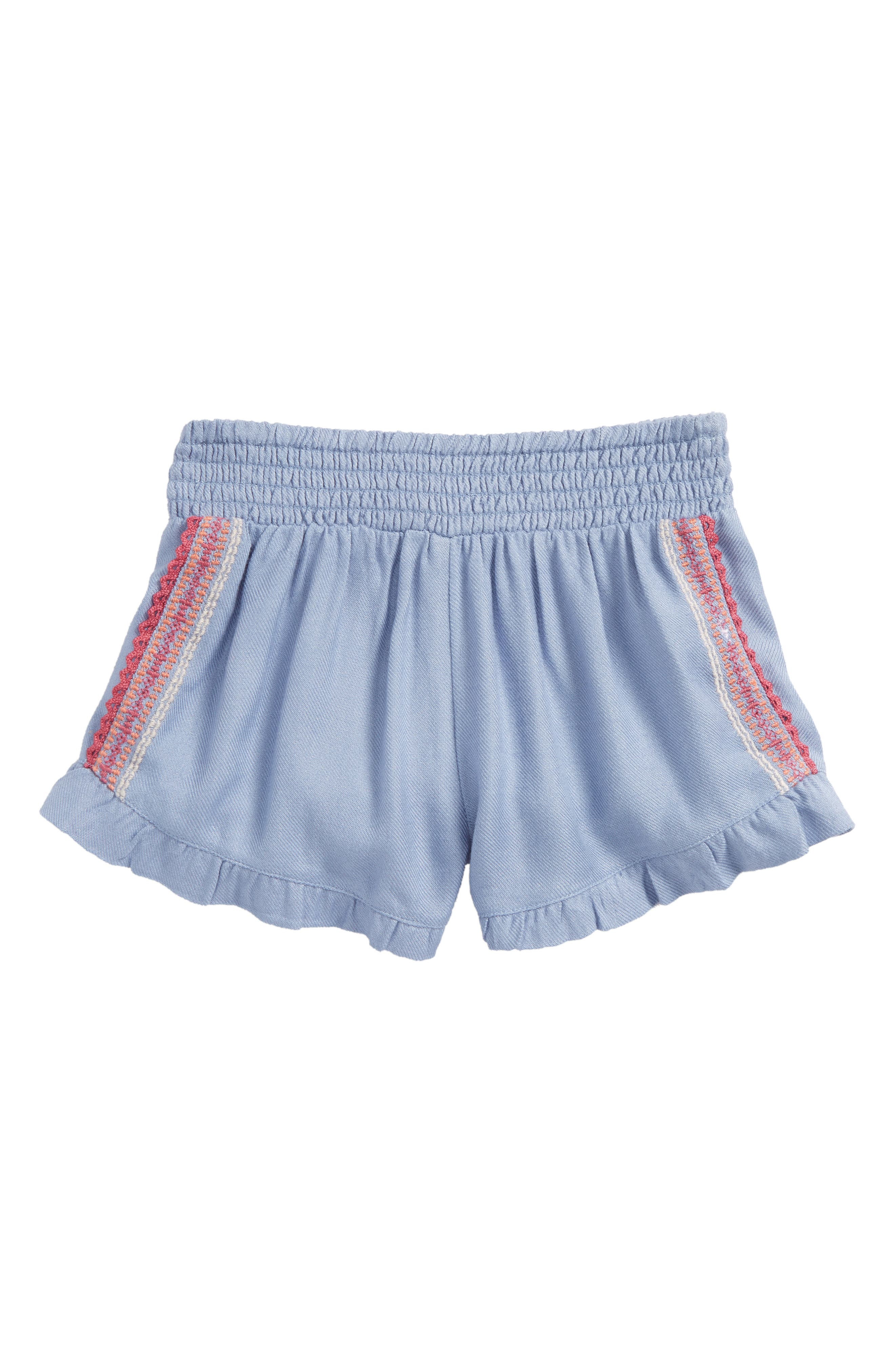 Bay Ruffle Shorts,                             Main thumbnail 1, color,                             Bleached Periwinkle