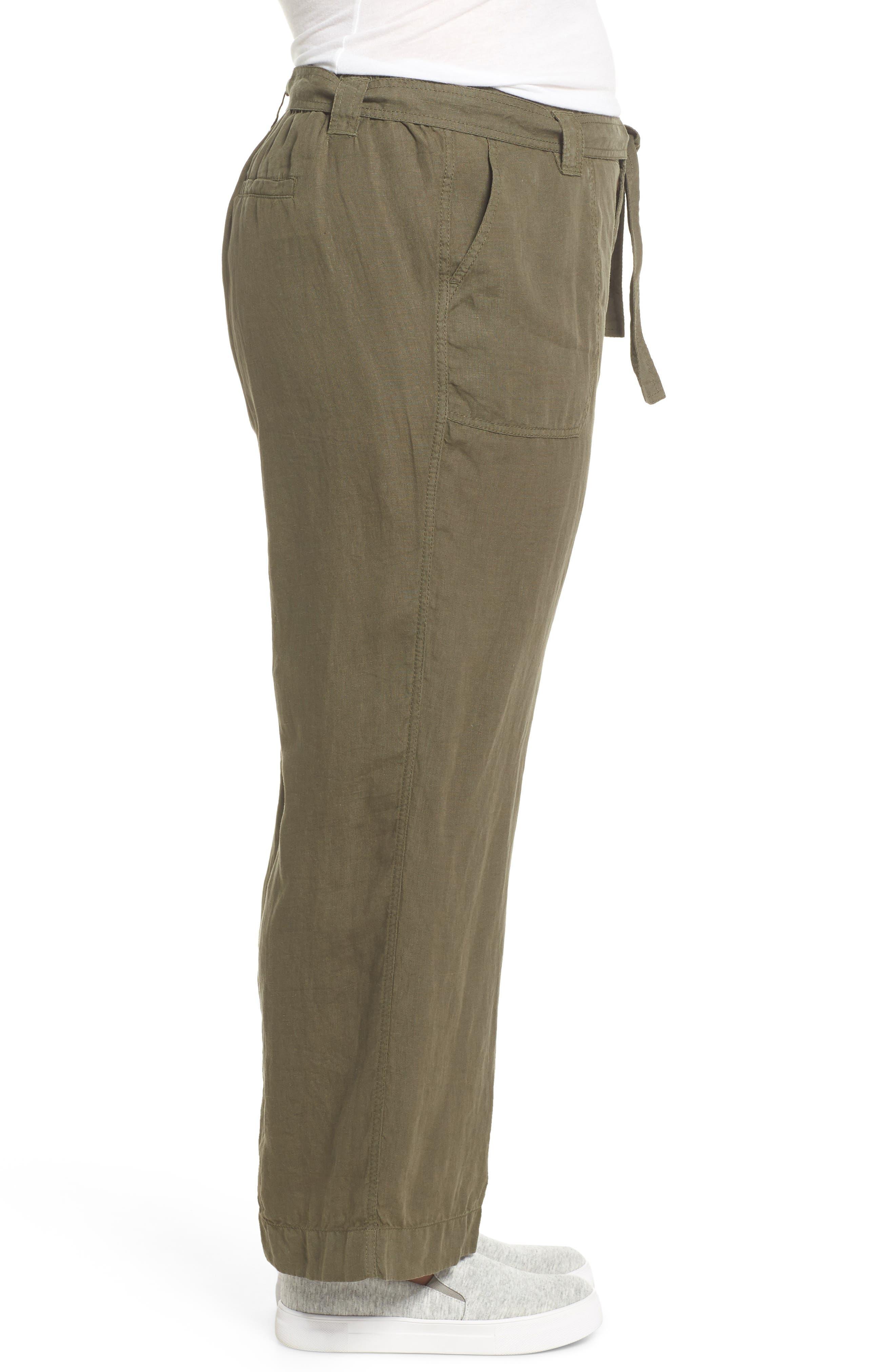 Wide Leg Crop Linen Pants,                             Alternate thumbnail 3, color,                             Olive Sarma