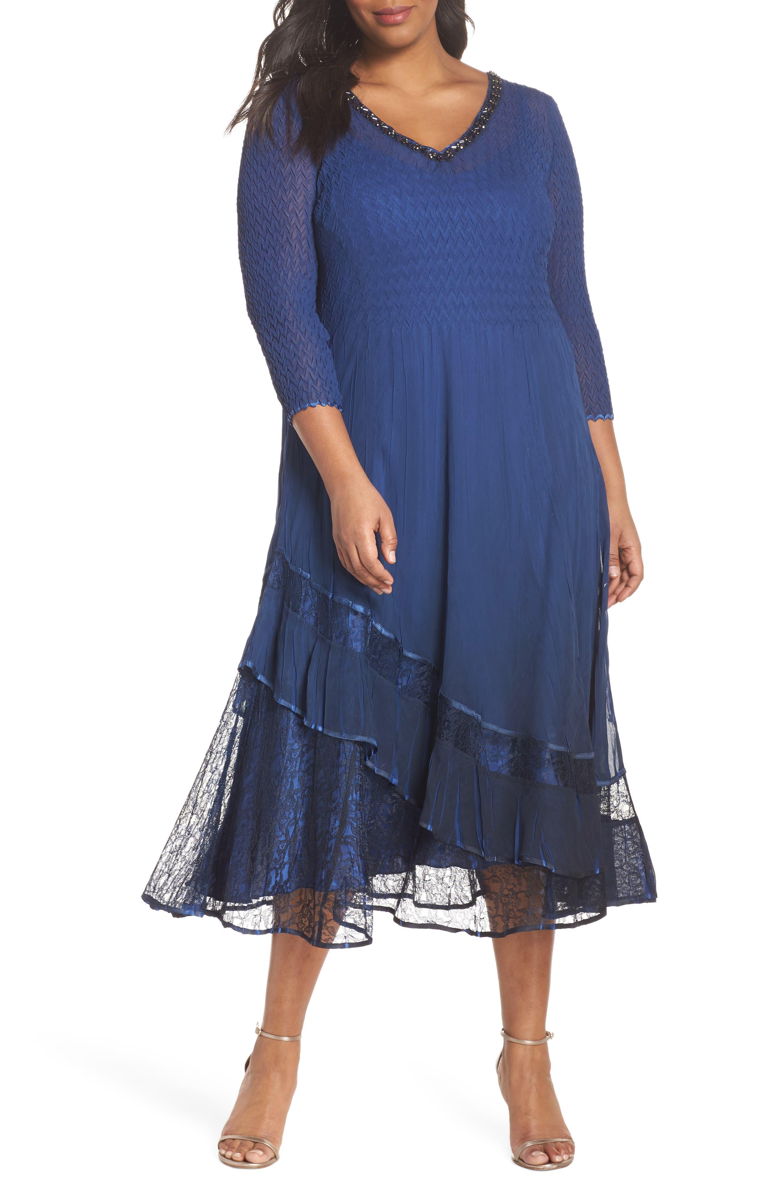 Charmeuse & Chiffon A-Line Dress,                         Main,                         color, Navy Black Ombre