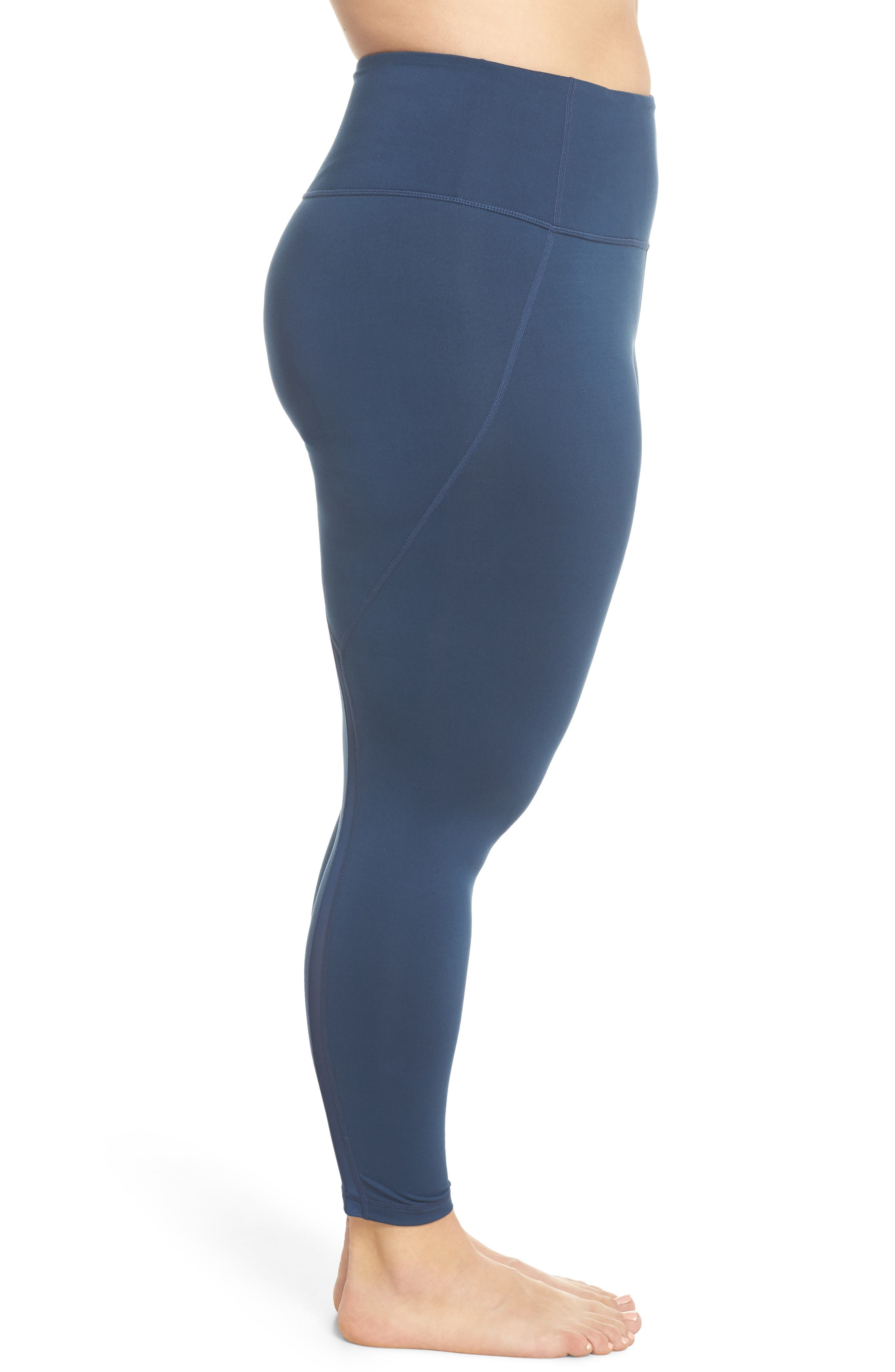 Lightweight High Waist Midi Leggings,                             Alternate thumbnail 3, color,                             Blue Insignia