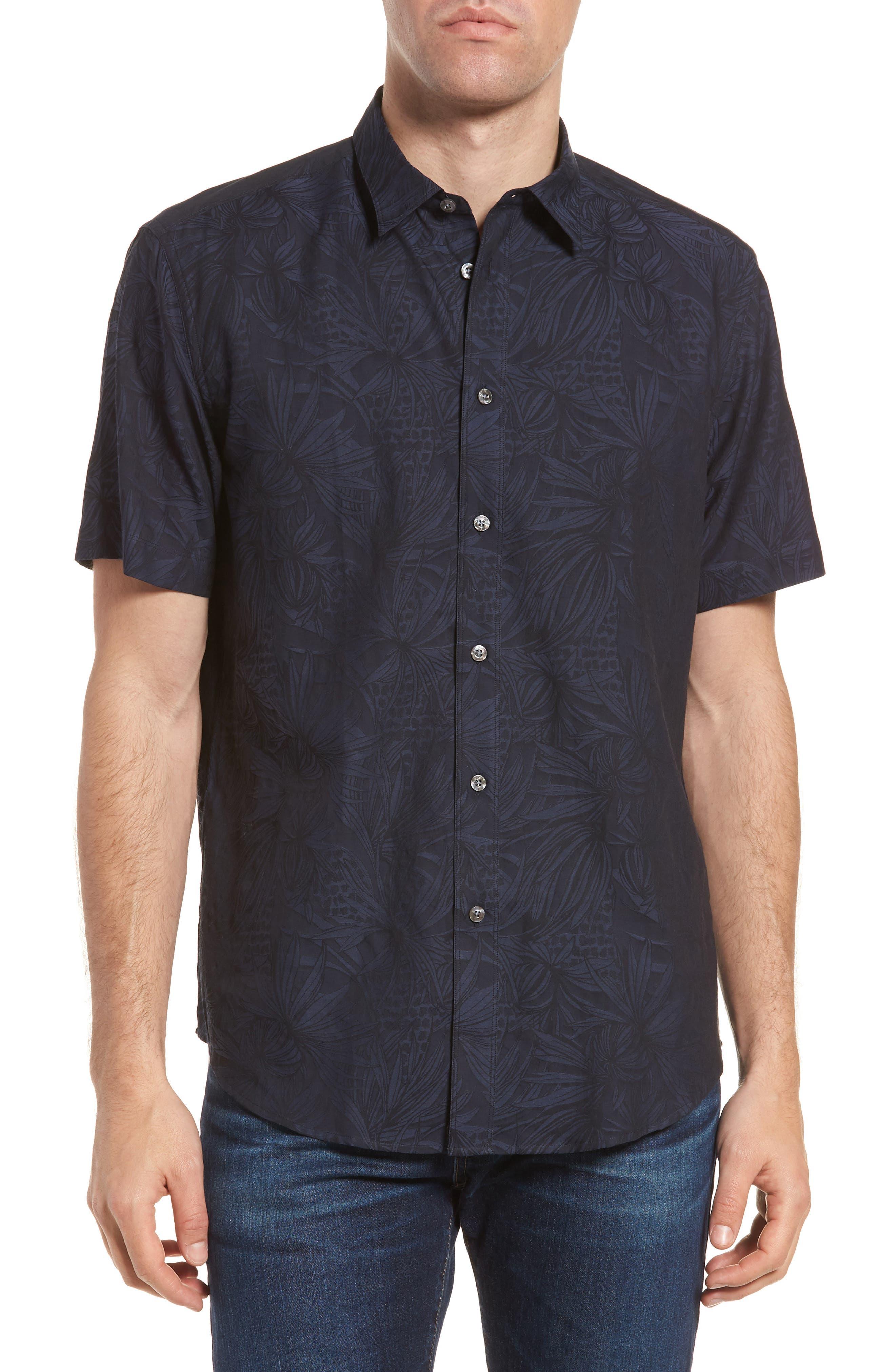 Princeville Regular Fit Print Short Sleeve Sport Shirt,                         Main,                         color, Ink