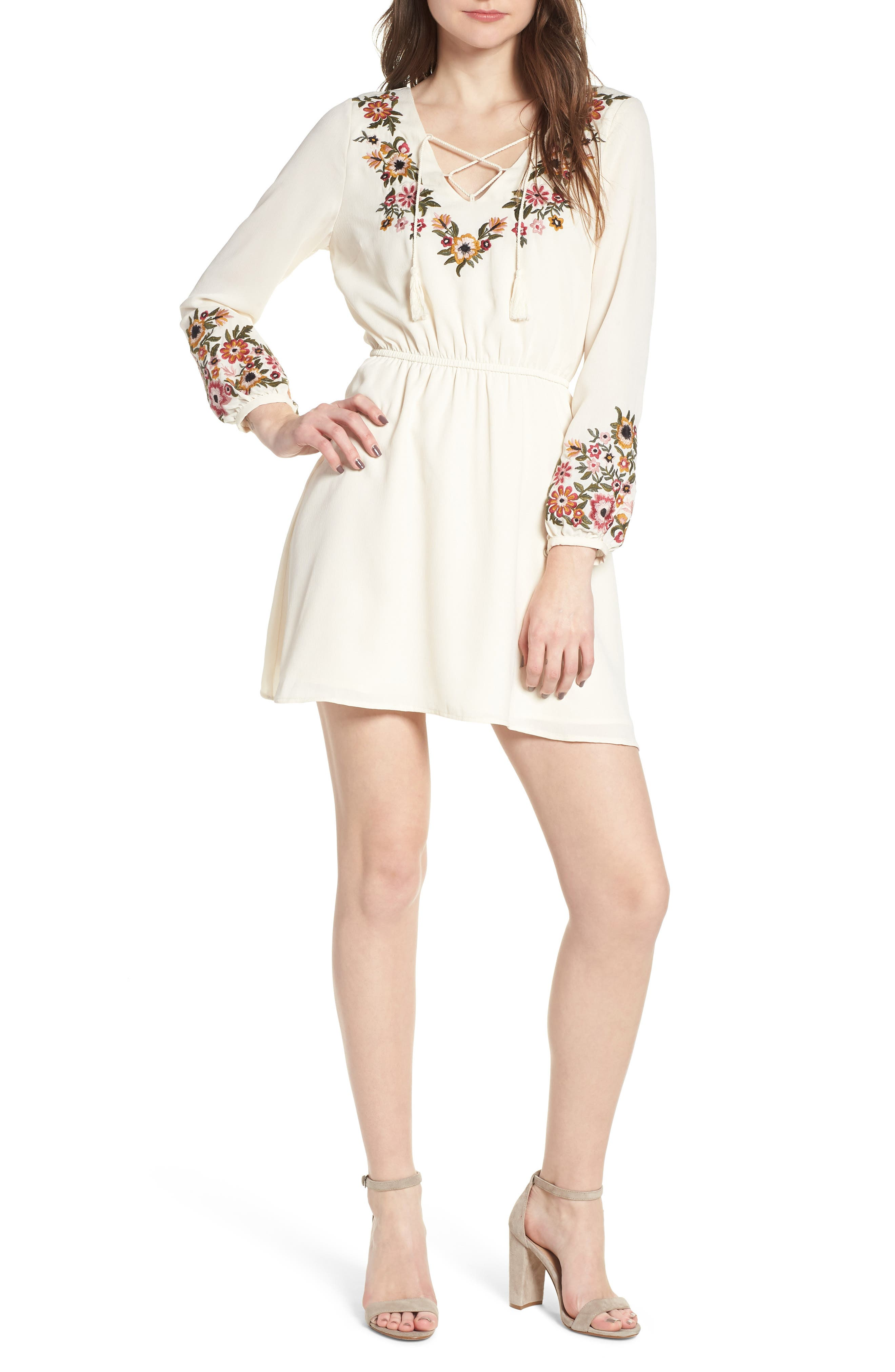 Garrison Embroidered Minidress,                         Main,                         color, Ivory