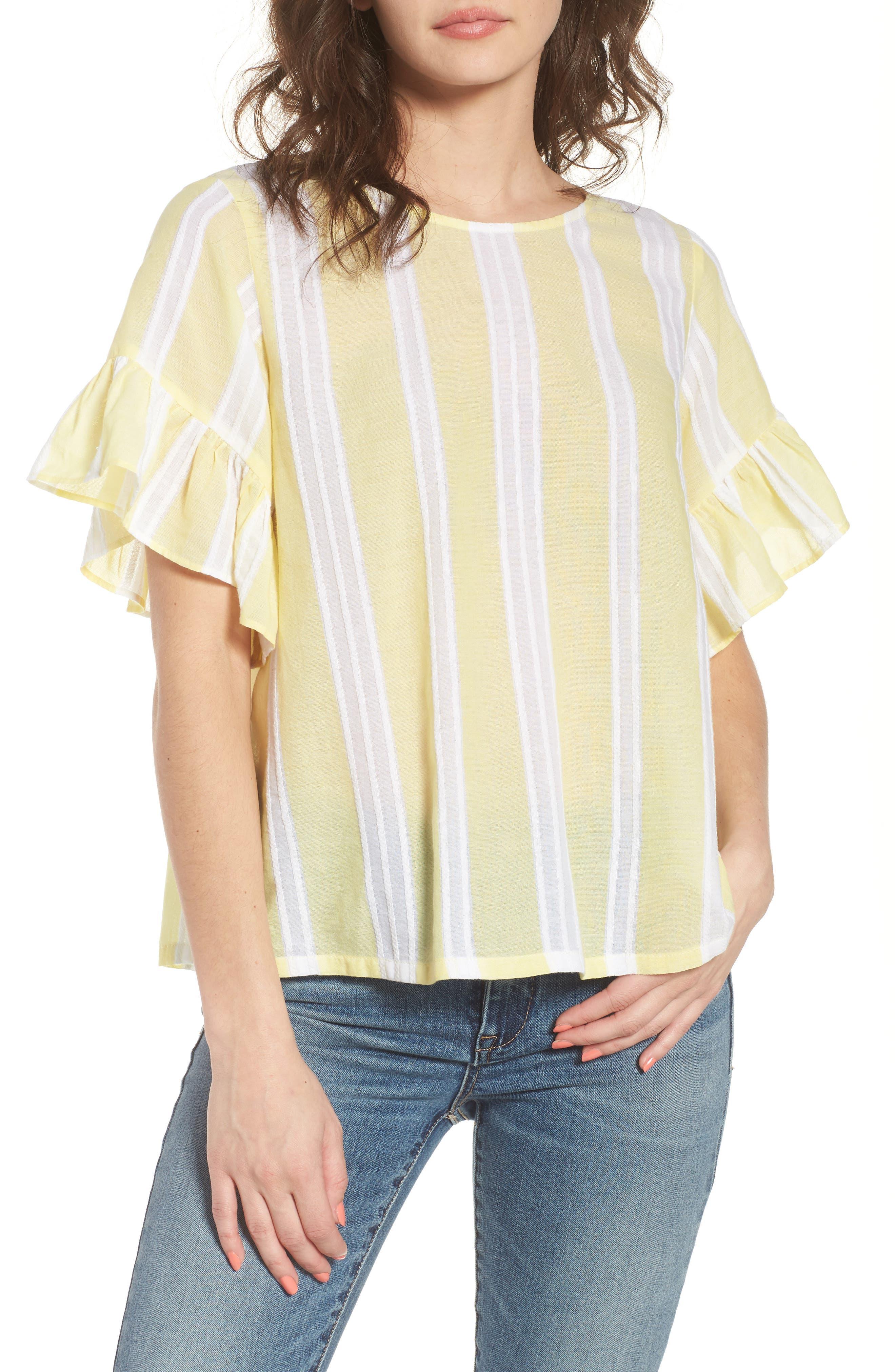 Stripe Tie Back Top,                             Main thumbnail 1, color,                             Yellow Glow Lena Stripe
