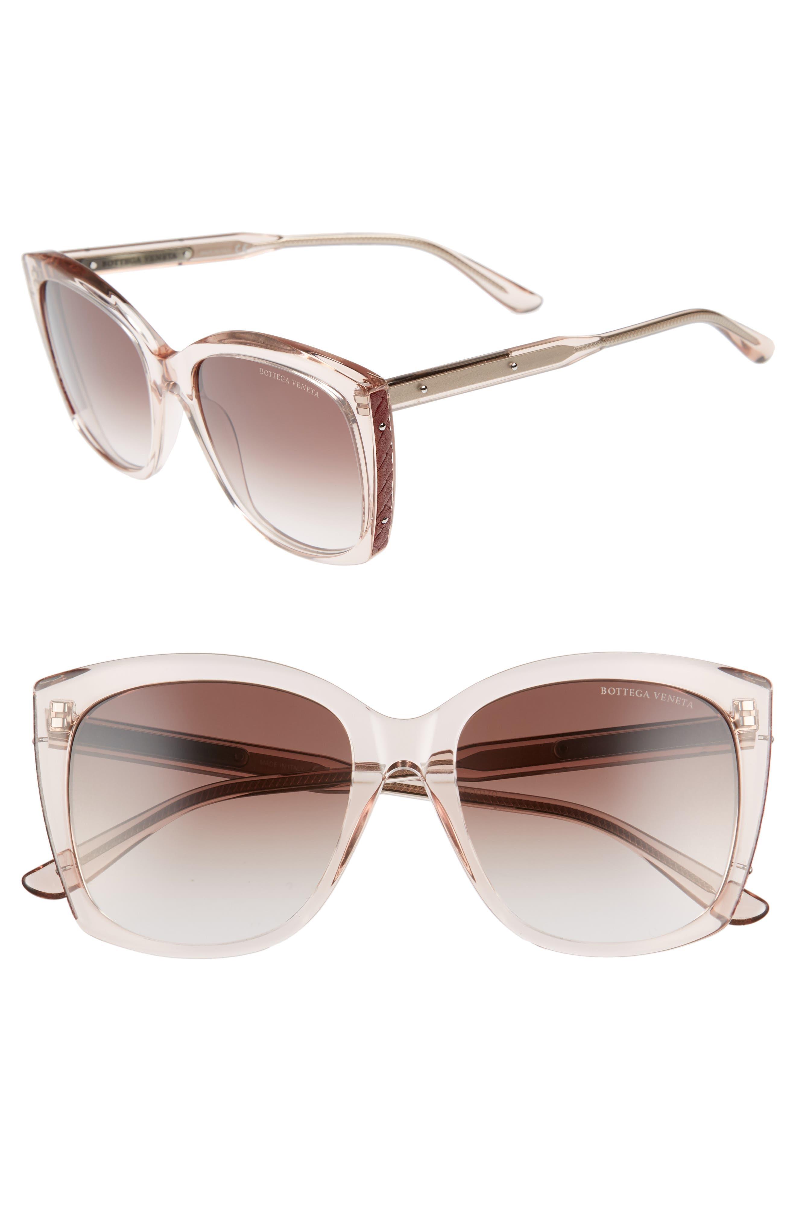 55mm Cat Eye Sunglasses,                             Main thumbnail 1, color,                             Pink