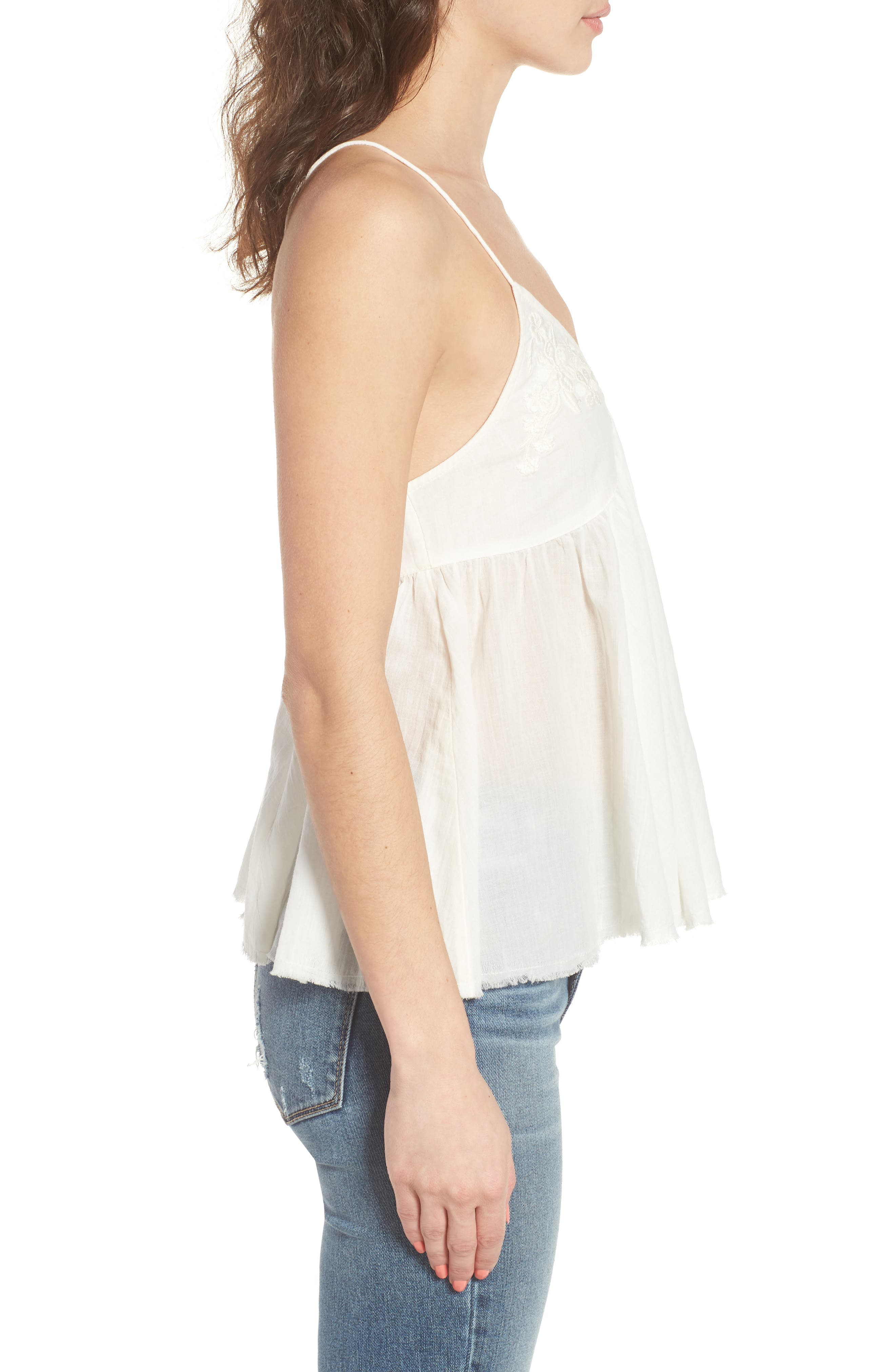 Embroidered Babydoll Tank,                             Alternate thumbnail 3, color,                             Ivory Egret