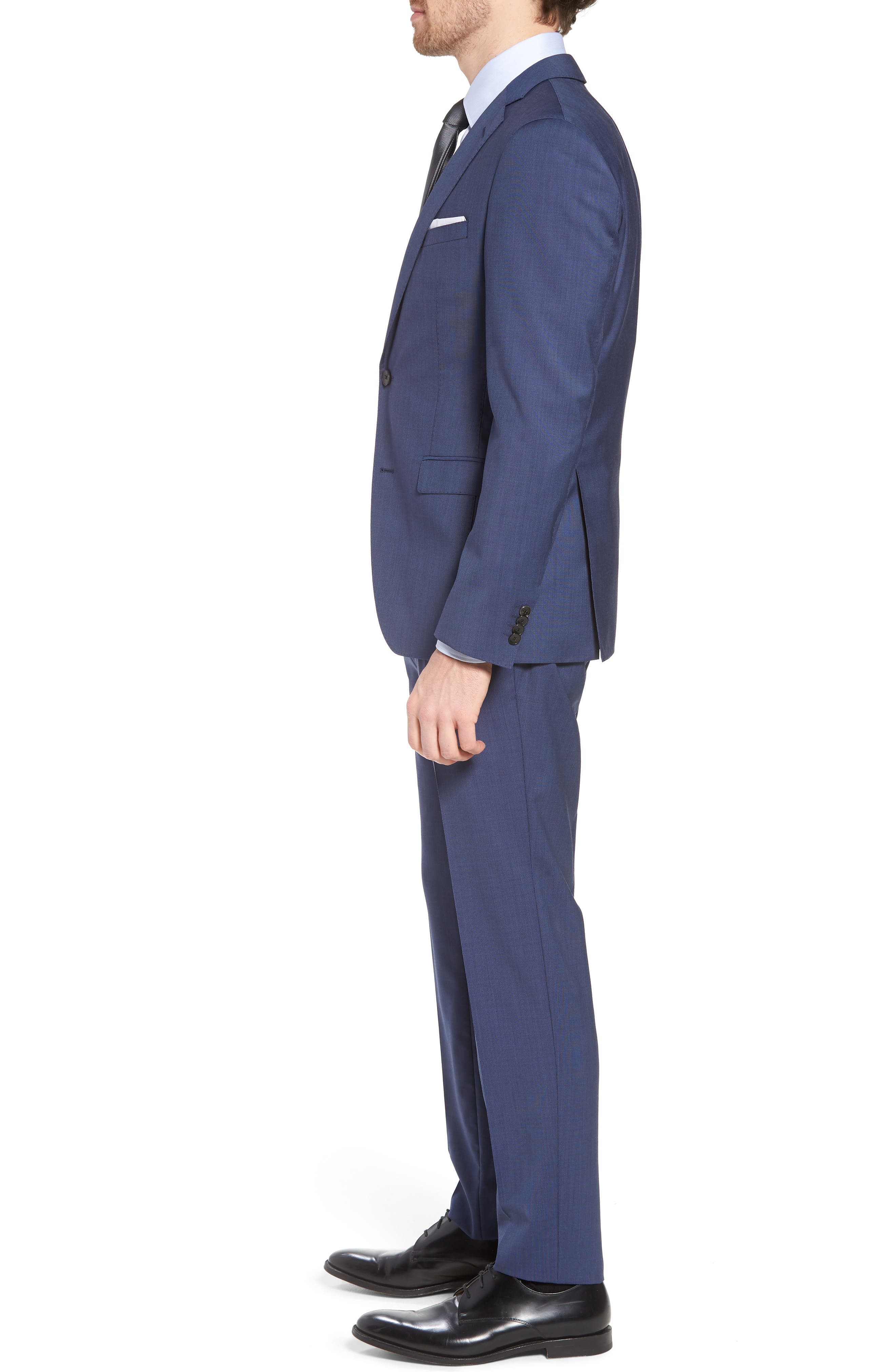Reyno/Wave Extra Trim Fit Solid Wool Suit,                             Alternate thumbnail 3, color,                             Medium Blue
