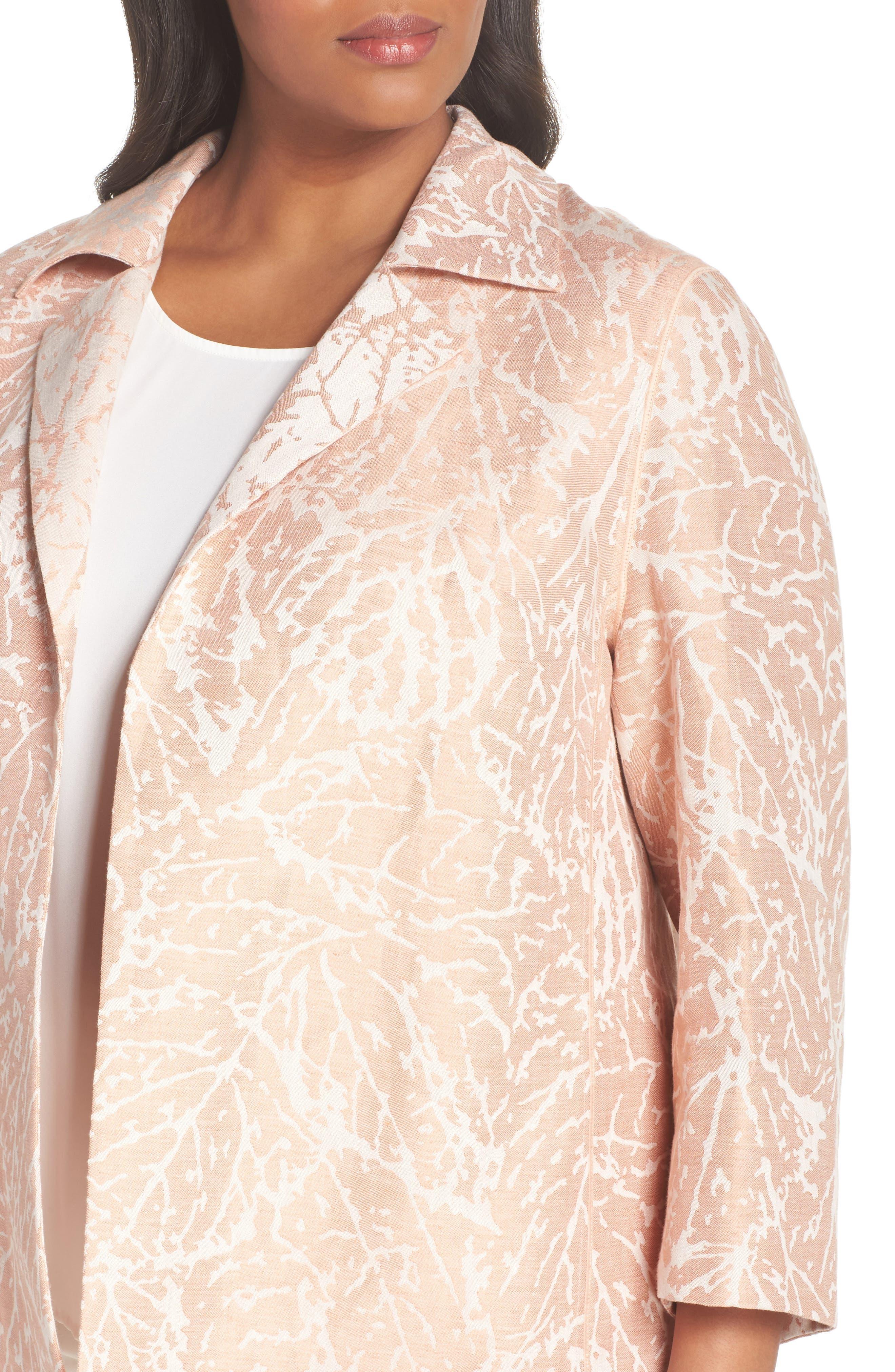 Phillipe Linen Jacket,                             Alternate thumbnail 4, color,                             Rose Quartz Multi