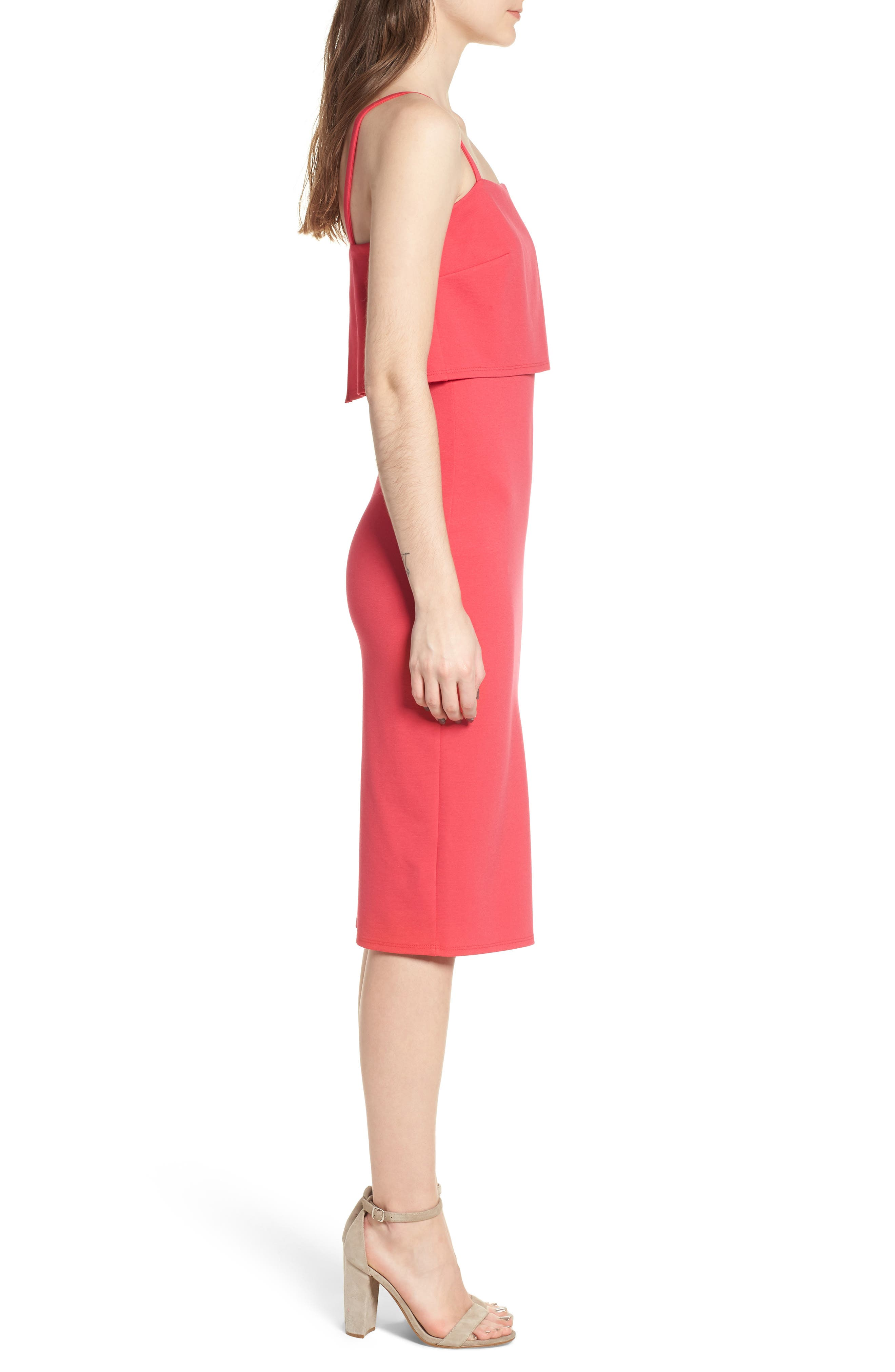 Popover Midi Body-Con Dress,                             Alternate thumbnail 3, color,                             Hibiscus