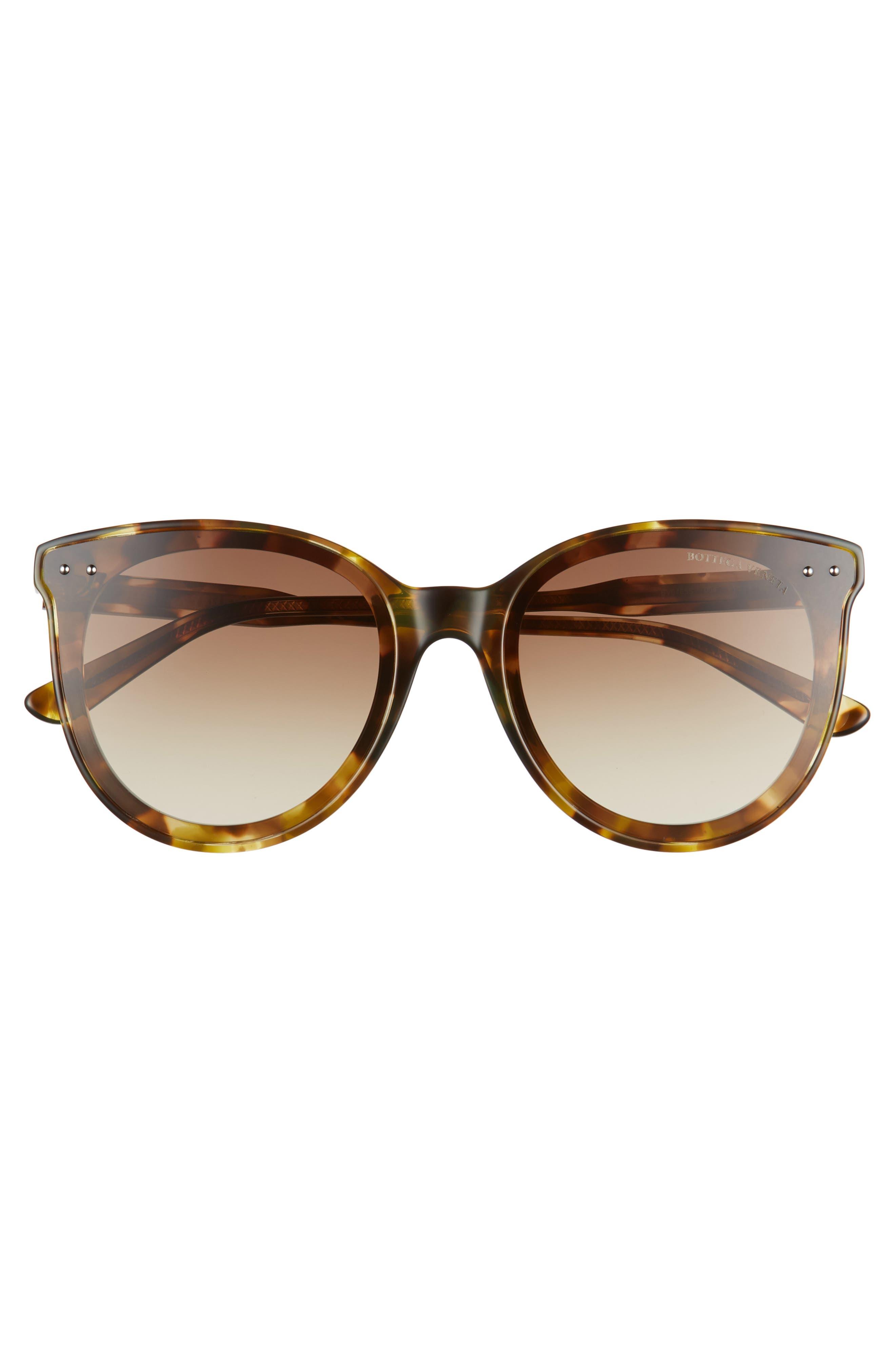 61mm Cat Eye Sunglasses,                             Alternate thumbnail 3, color,                             Green Havana