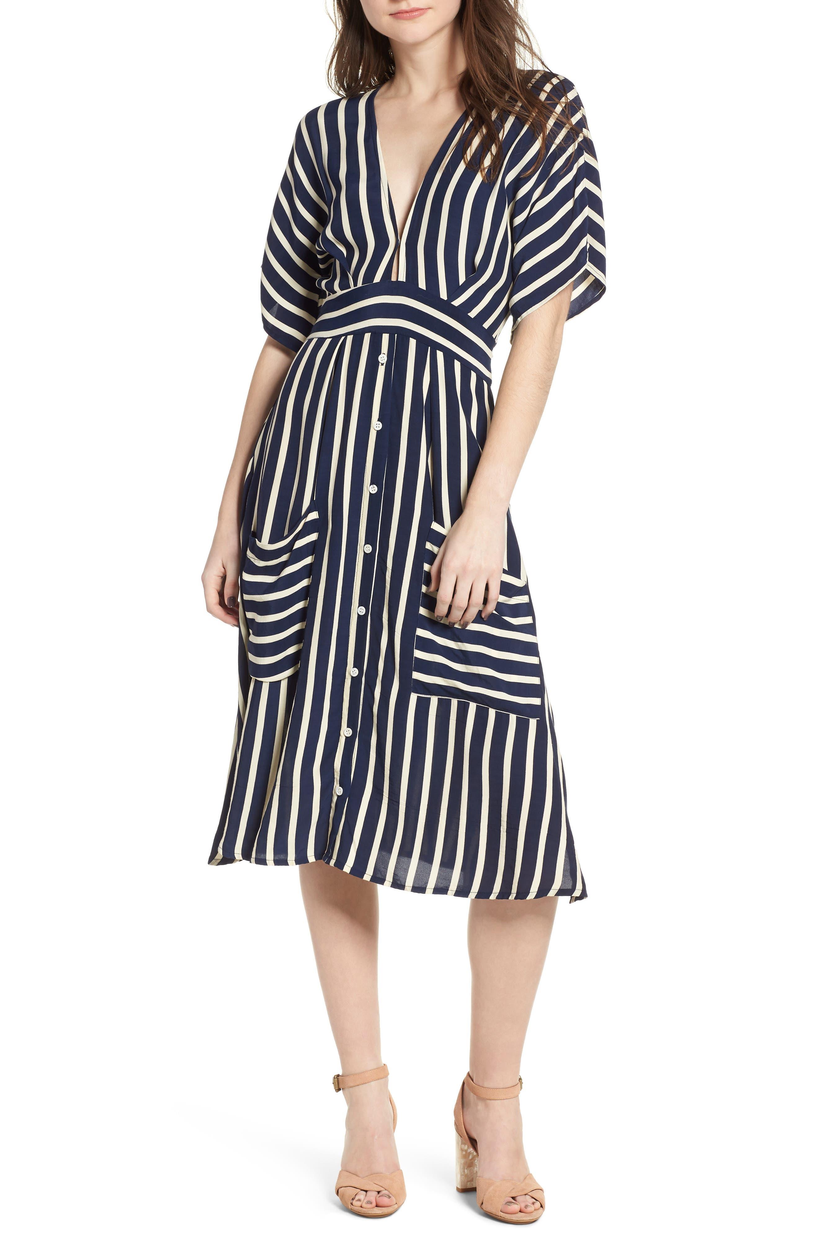 Milan Stripe Midi Dress,                         Main,                         color, Mazur Stripe Print Navy