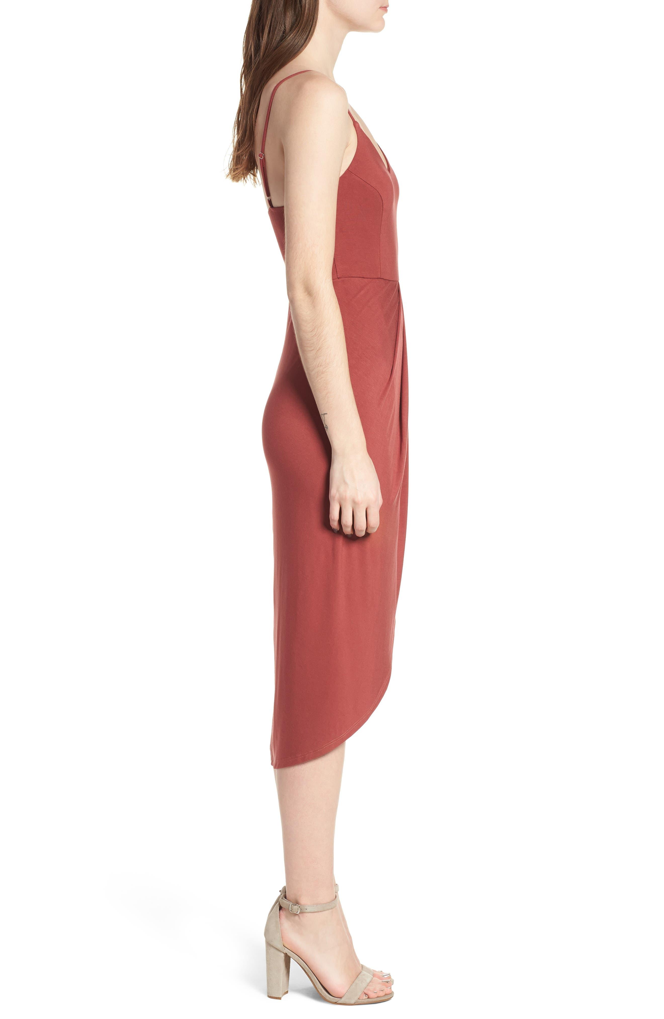 Pleated Wrap Dress,                             Alternate thumbnail 3, color,                             Rust Marsala