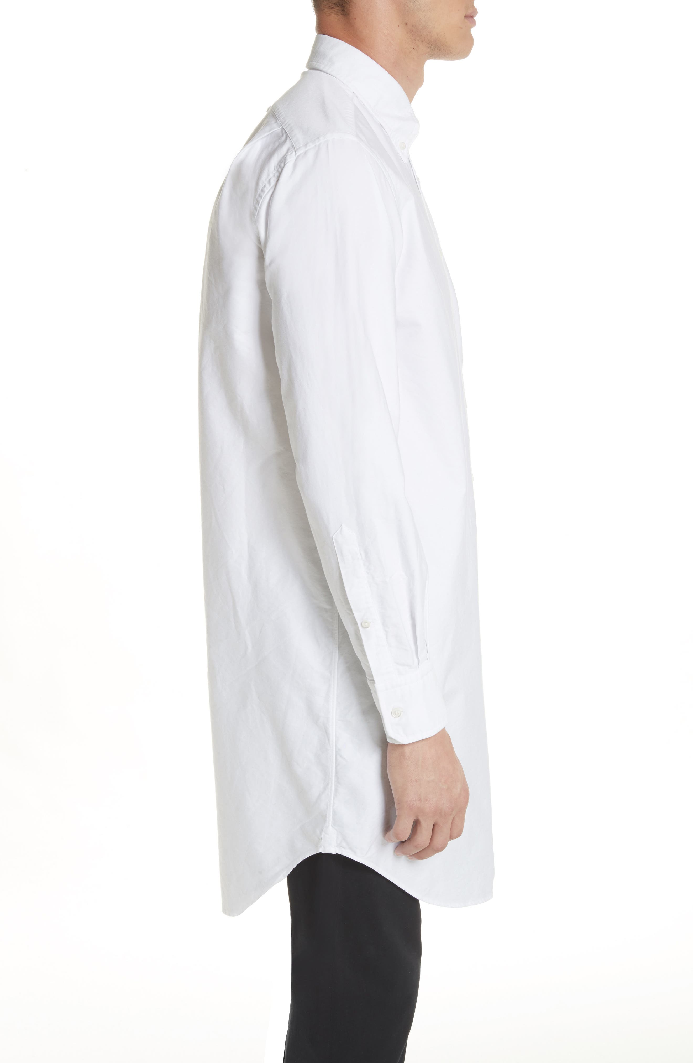 Elongated Woven Shirt,                             Alternate thumbnail 4, color,                             White