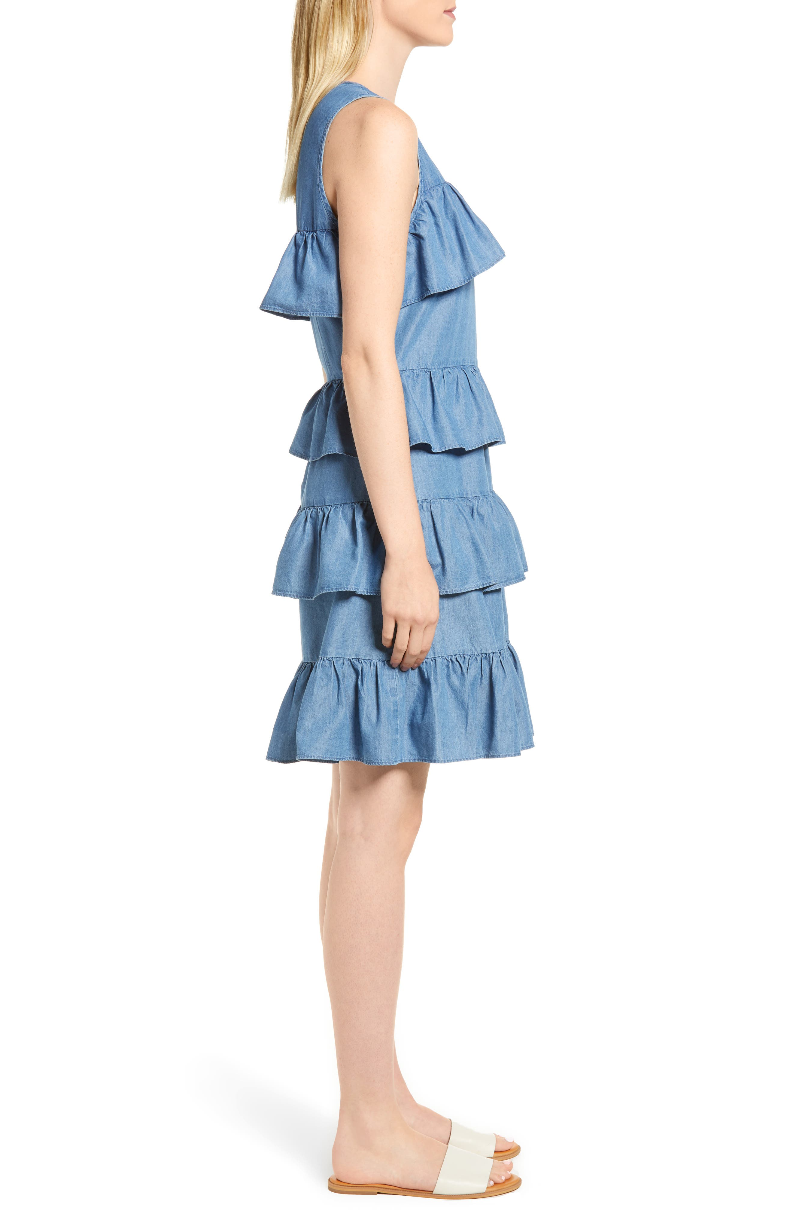 Chambray Flounce Dress,                             Alternate thumbnail 3, color,                             Light Cadet Wash