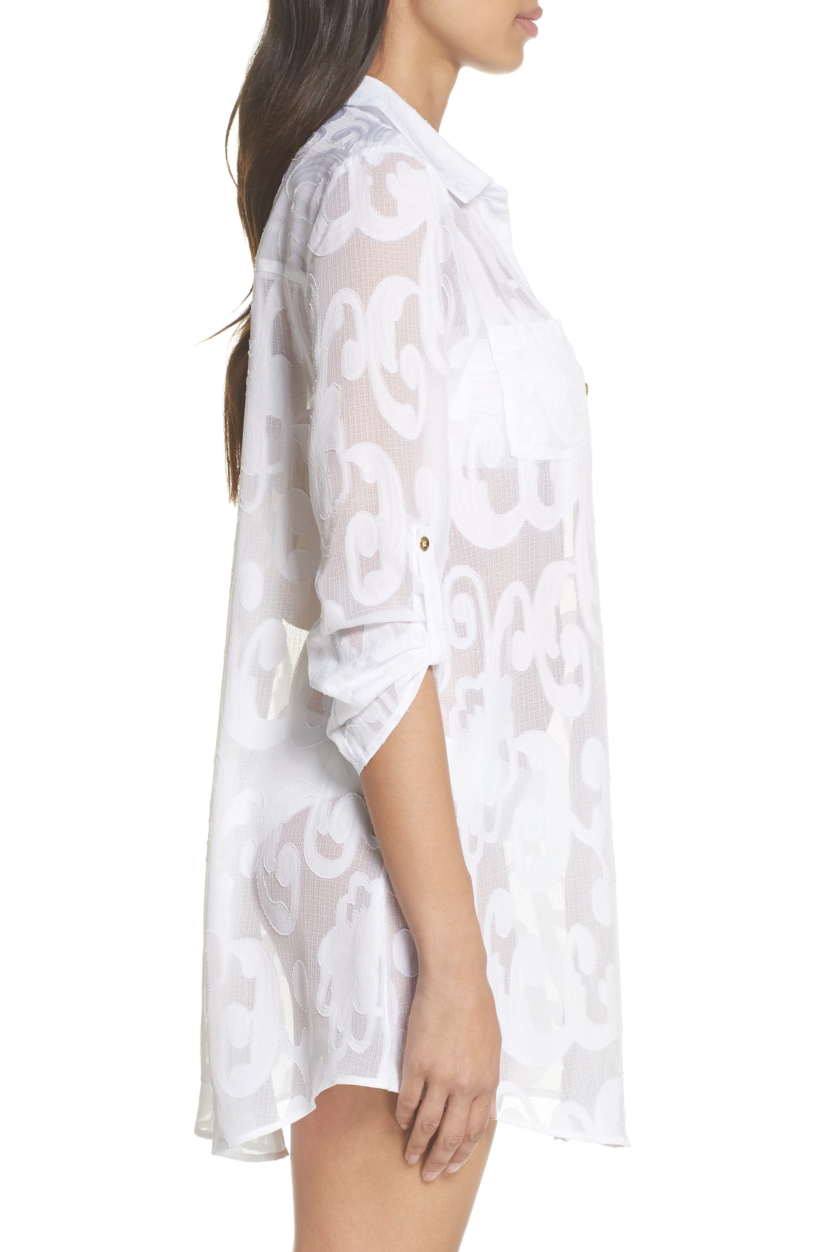 Natalie Shirtdress Cover-Up,                             Alternate thumbnail 3, color,                             Resort White Poly Crepe Swirl