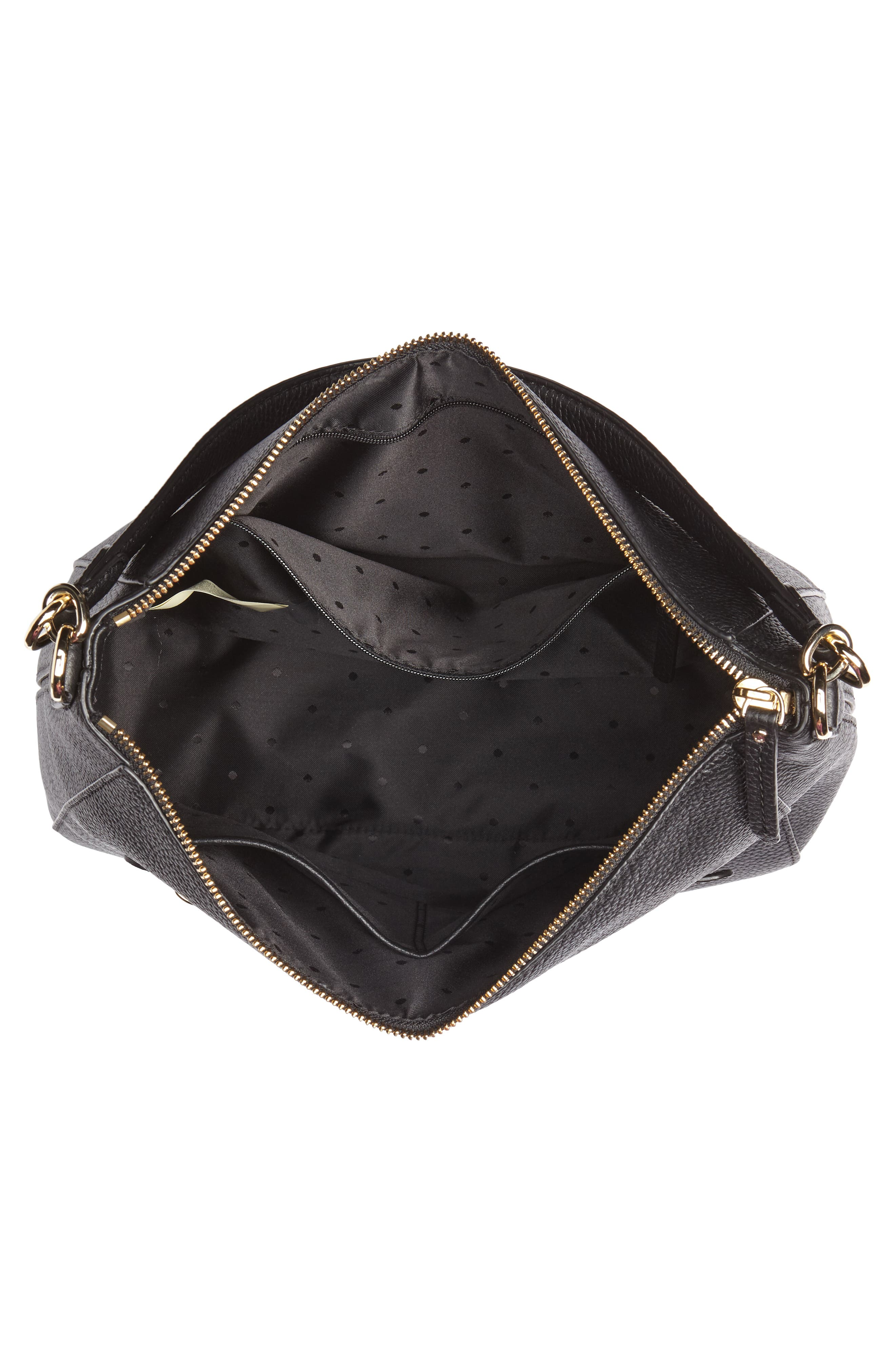 trent hill - quincy leather hobo,                             Alternate thumbnail 4, color,                             Black