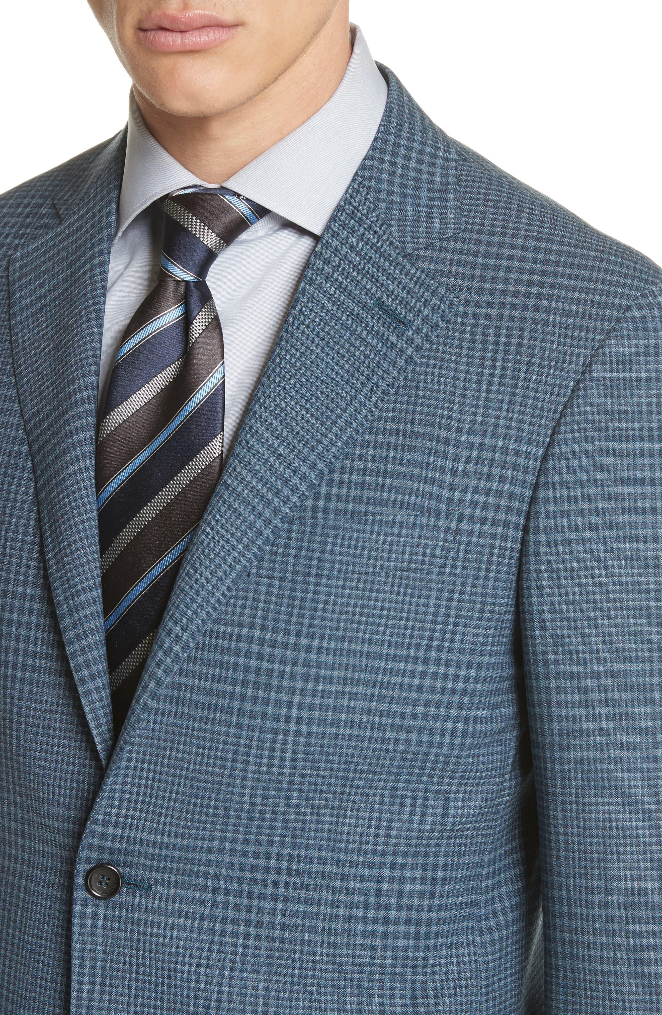 Kei Classic Fit Plaid Wool Sport Coat,                             Alternate thumbnail 4, color,                             Navy